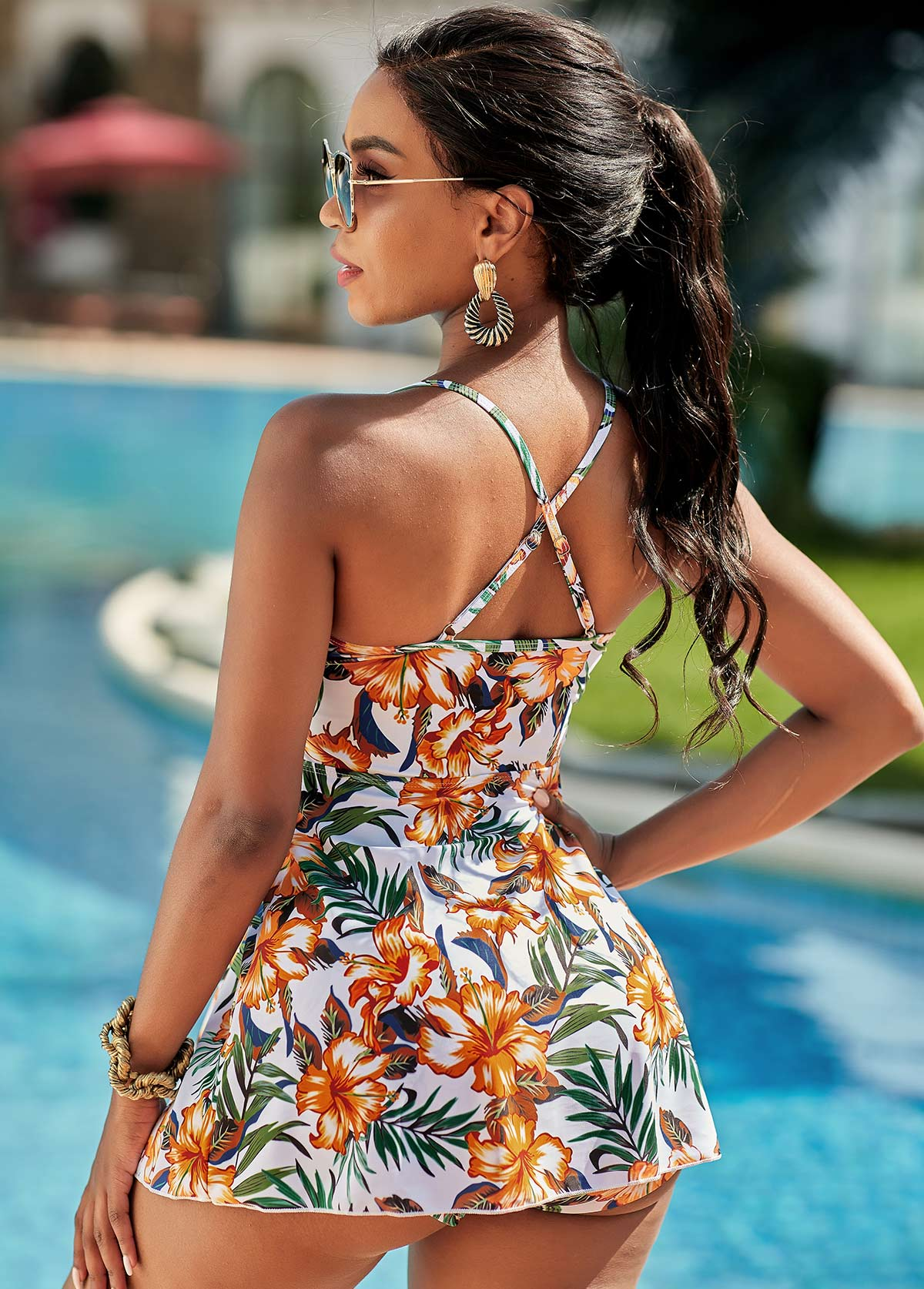 Floral Print Criss Cross Back Swimdress and Shorts