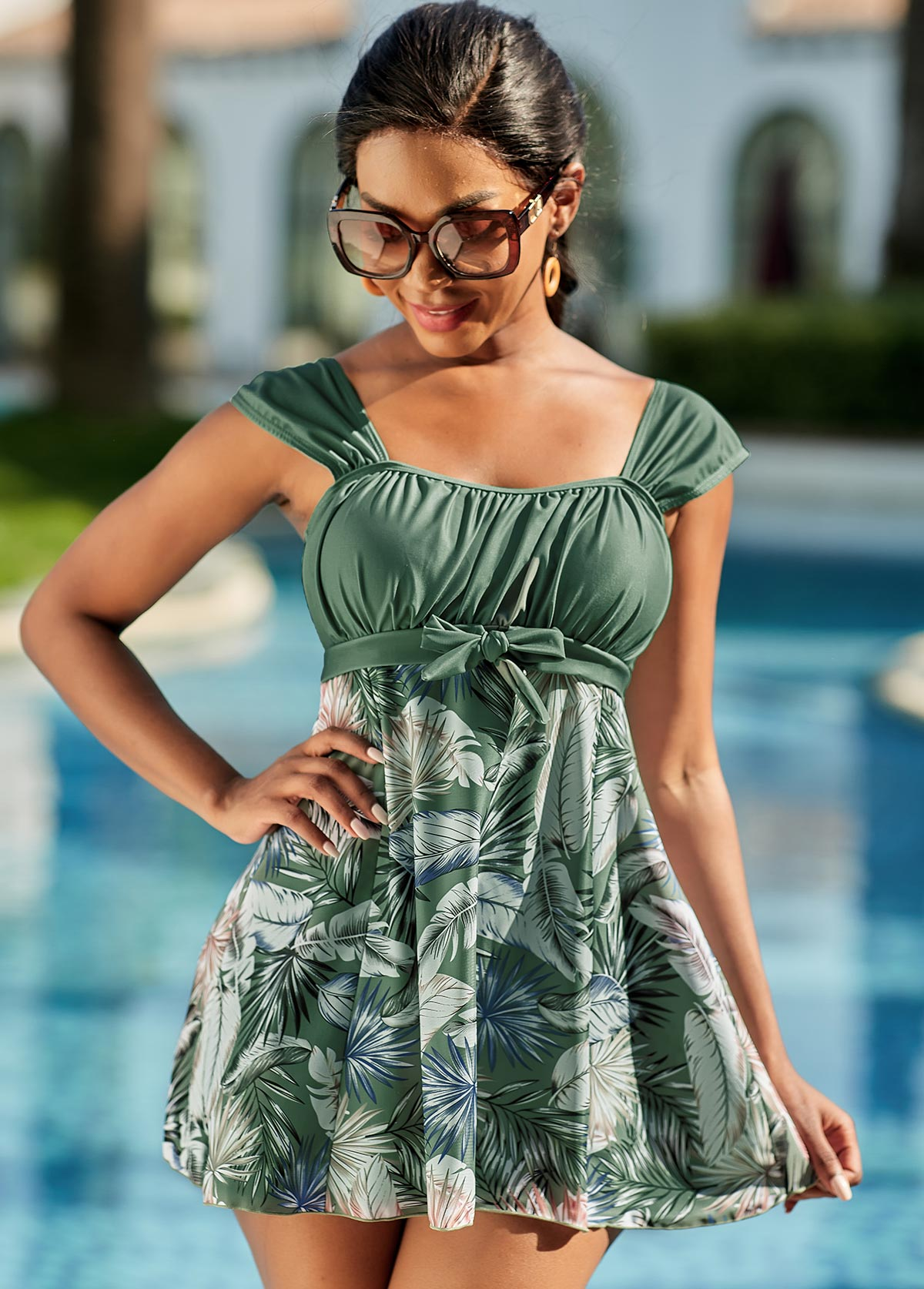 Bowknot Feather Print Wide Strap Swimdress and Panty