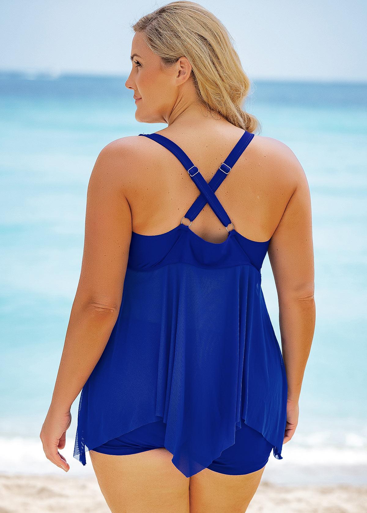 Lace Stitching Plus Size Swimdress and Shorts
