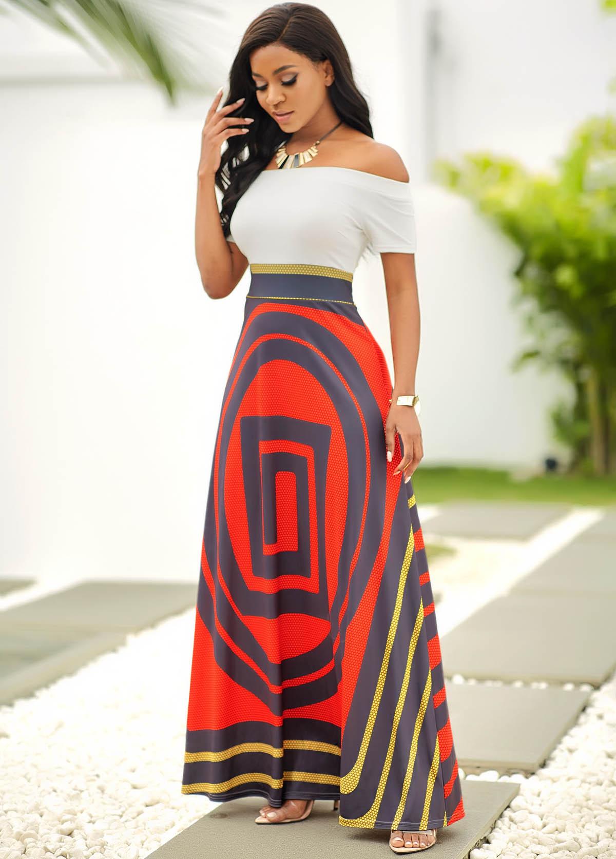 Geometric Print Off Shoulder Short Sleeve Dress