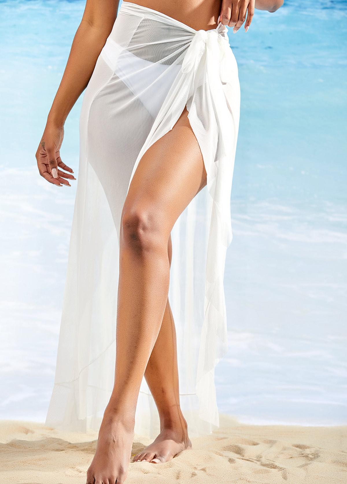 Asymmetric Hem Side Slit One Piece Beach Skirt