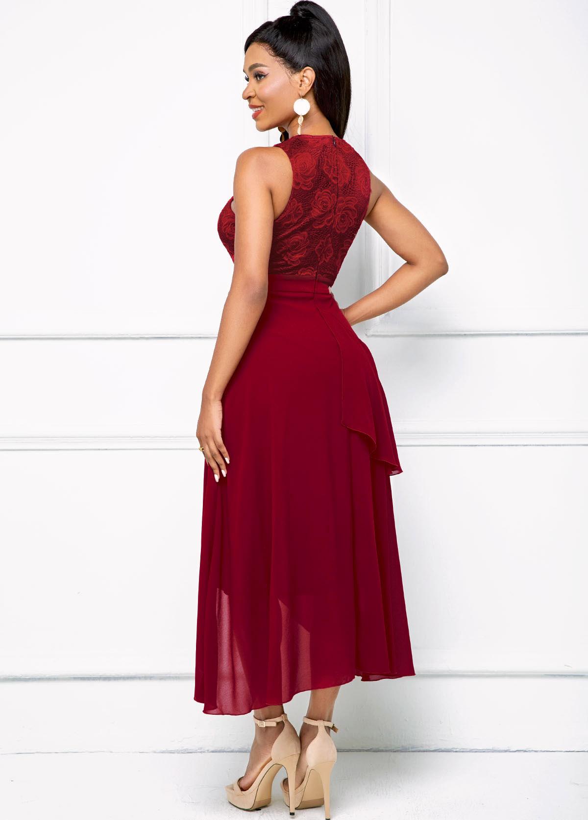 Keyhole Neckline Asymmetric Hem Mesh Dress