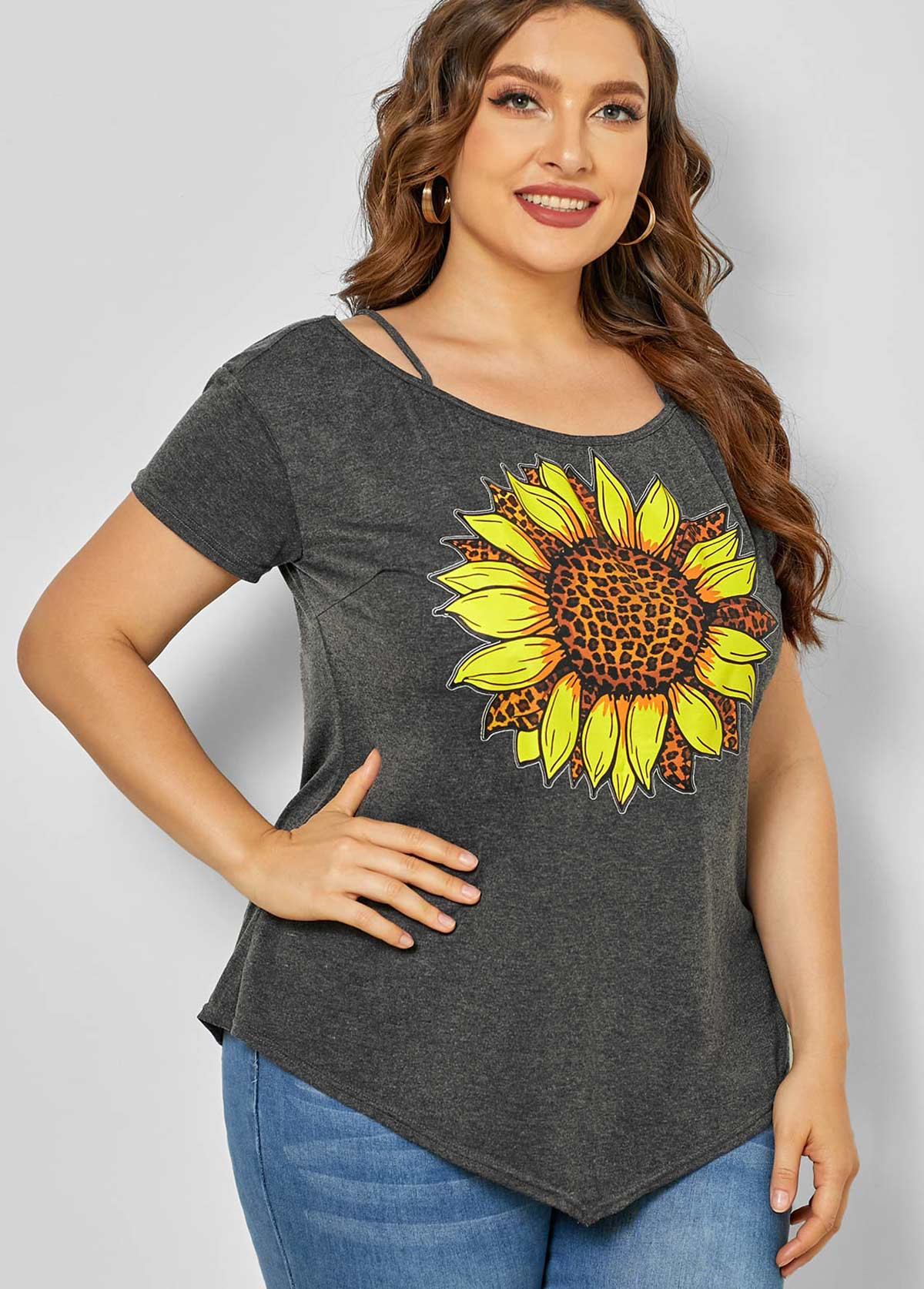Asymmetric Hem Plus Size Sunflower Print T Shirt