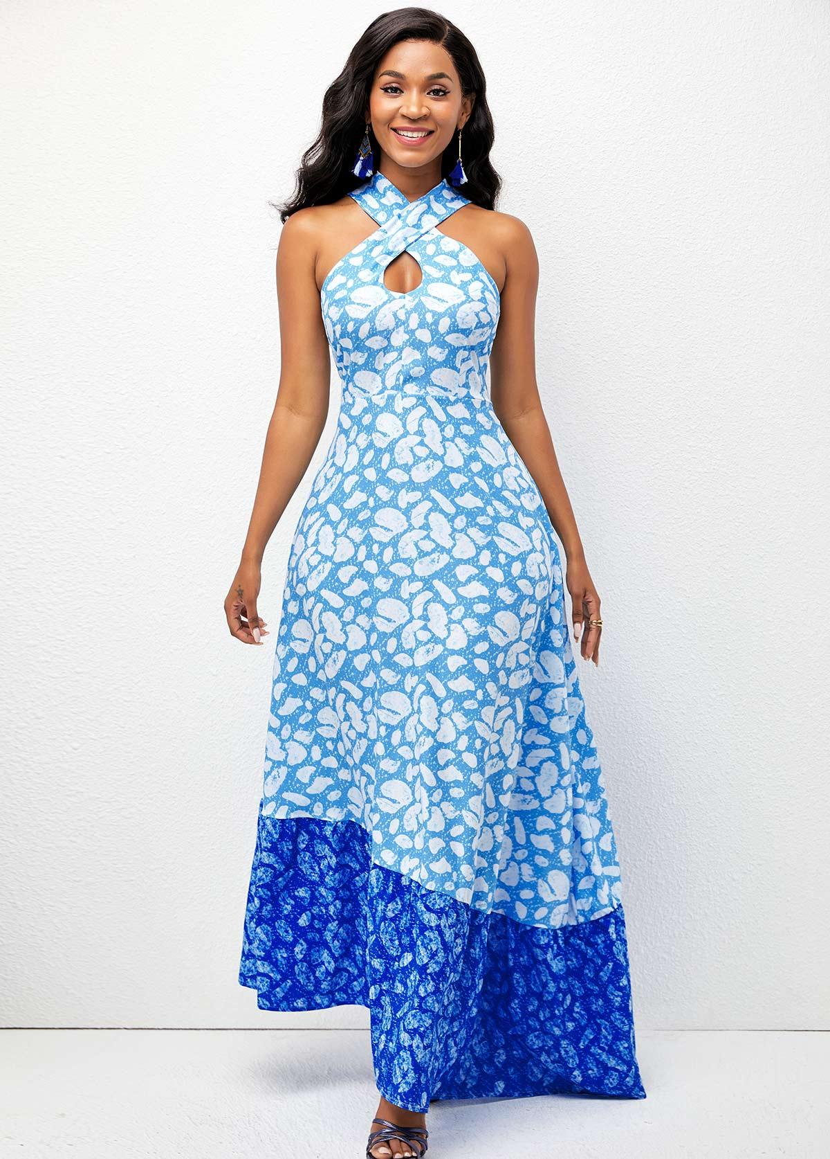 Asymmetric Hem Geometric Print Cross Strap Dress