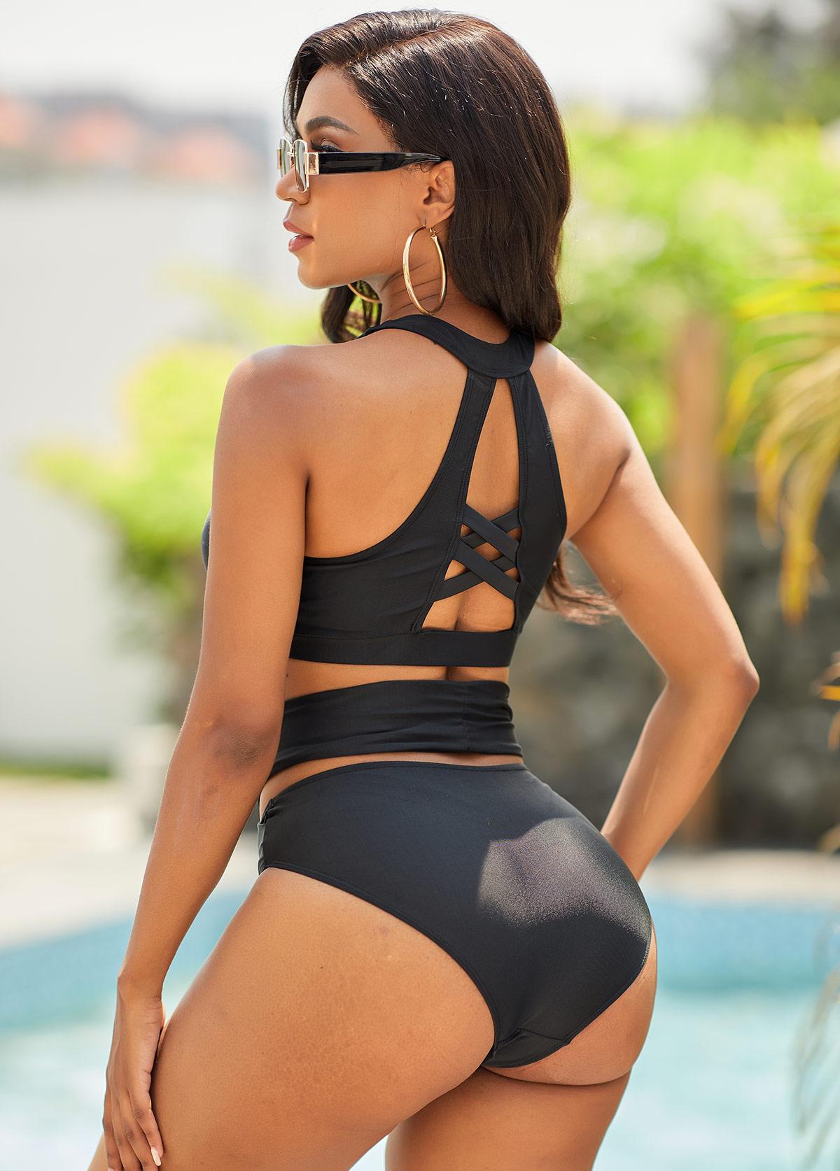 High Waist Cross Strap Bikini Set