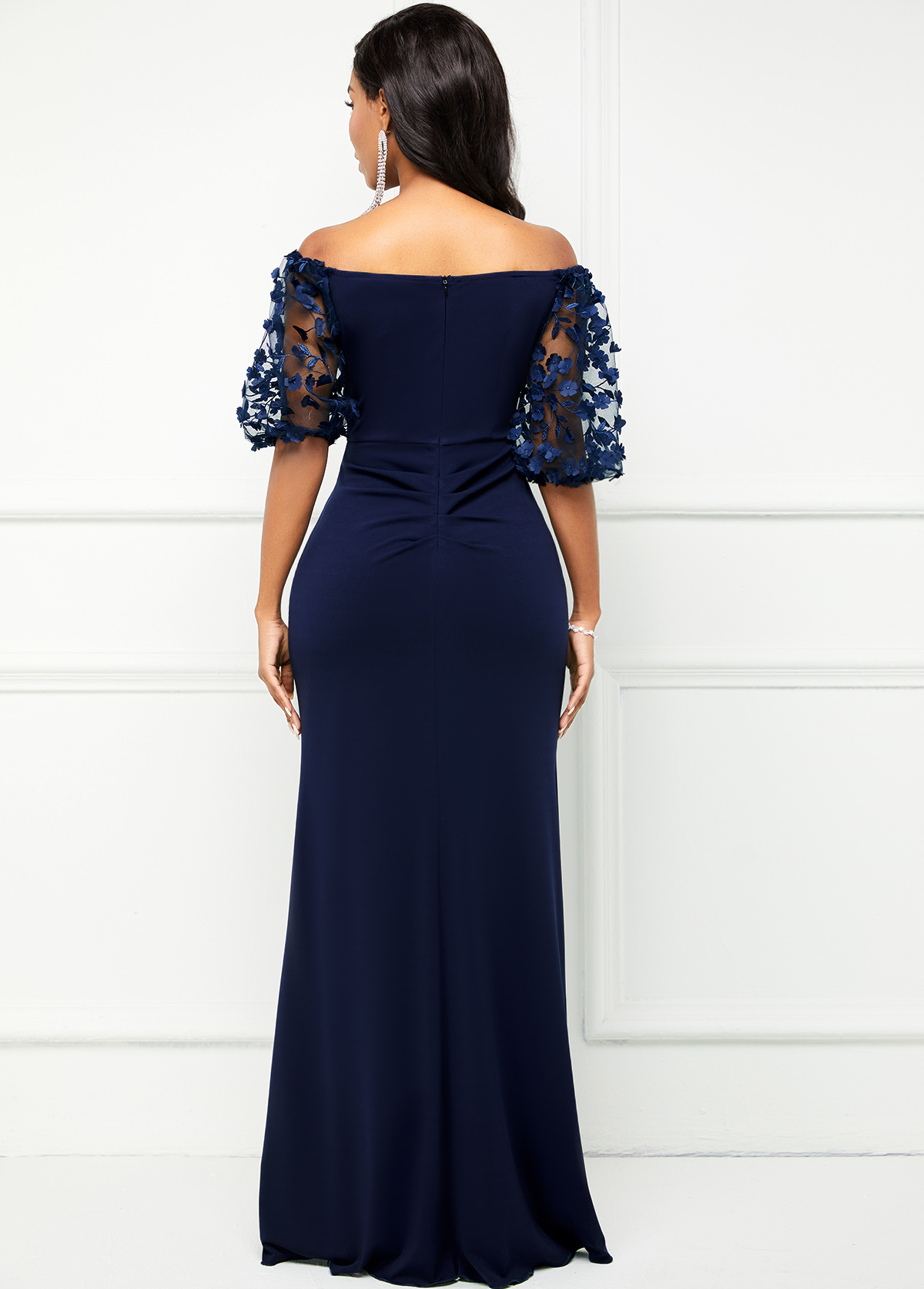 3/4 Sleeve Off Shoulder Lace Stitching Dress