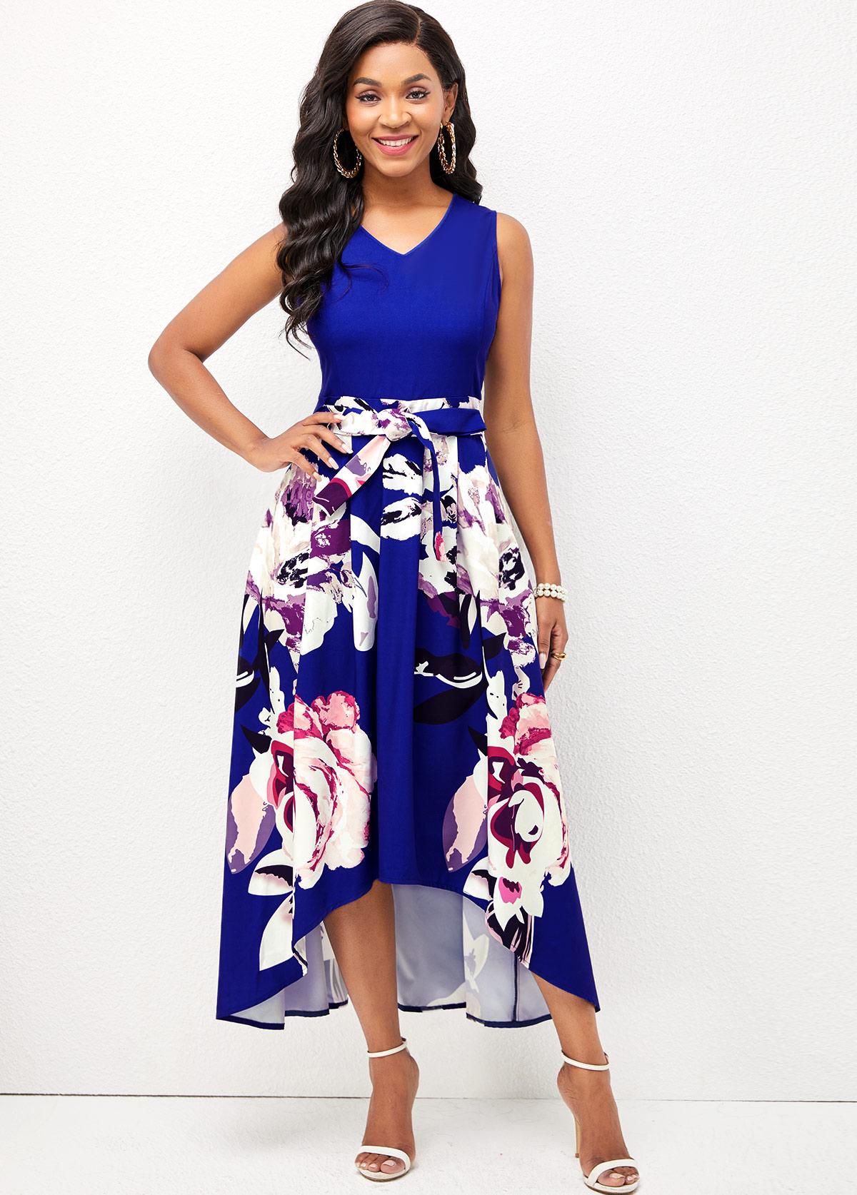 Floral Print V Neck Dip Hem Dress