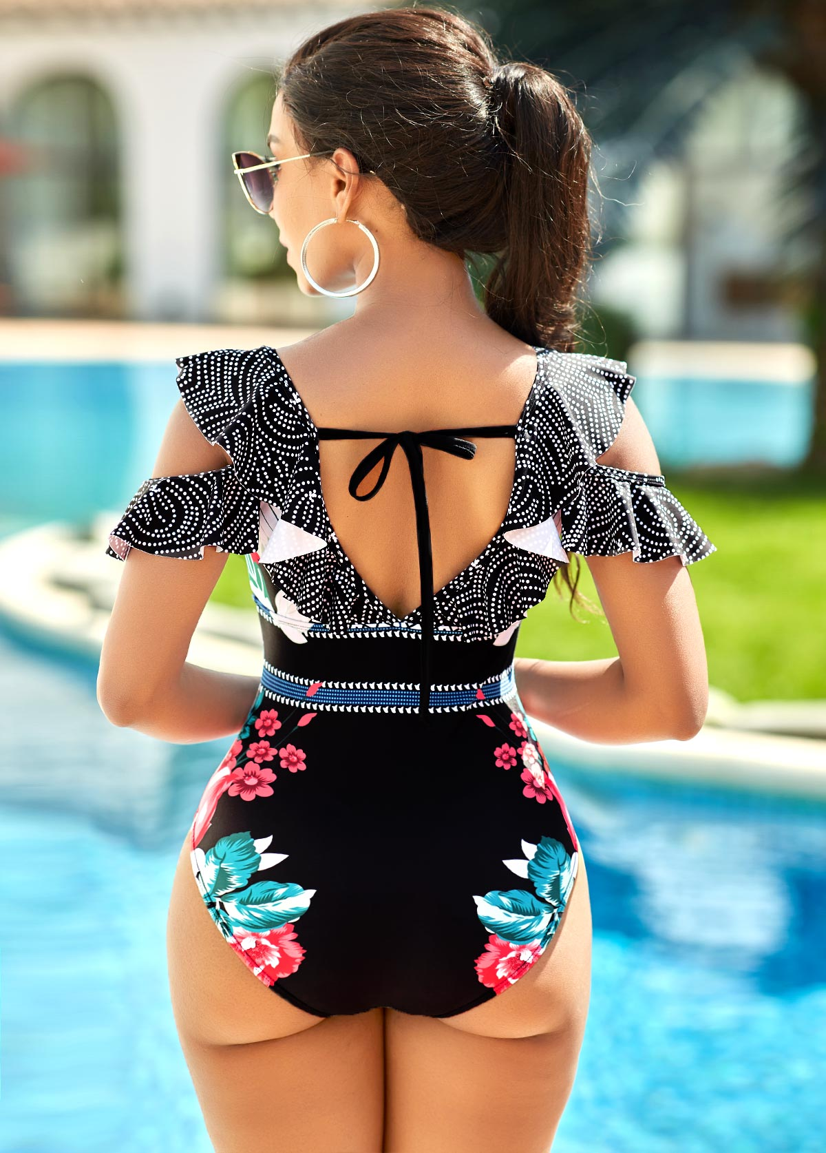 Flounce Lace Up Floral Print One Piece Swimwear