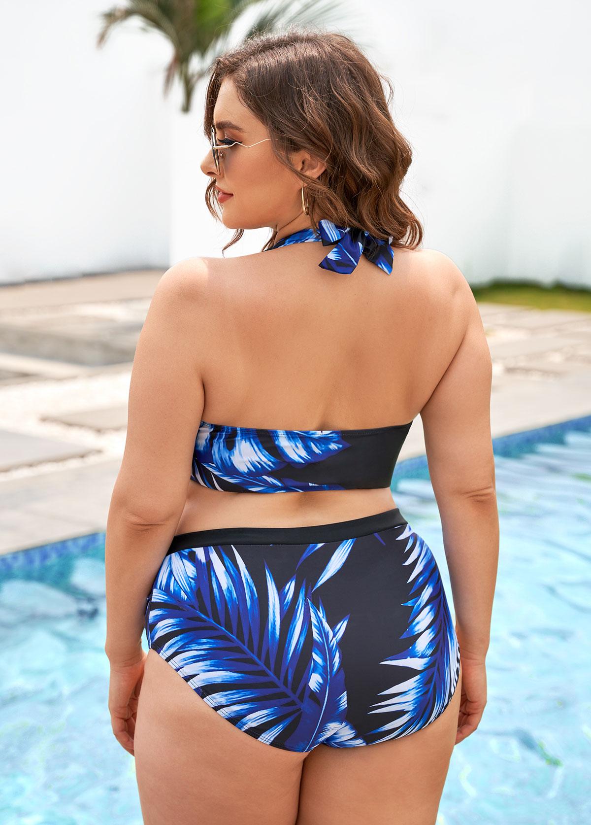 High Waisted Plus Size Leaf Print Bikini Set