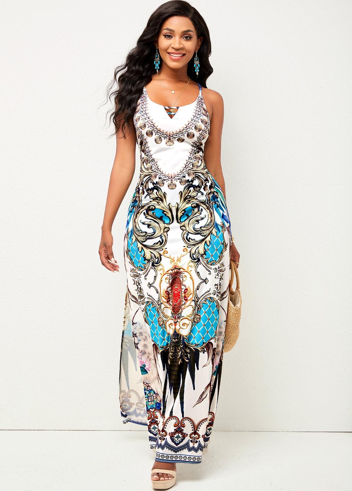 Sleeveless Cross Strap Tribal Print Dress