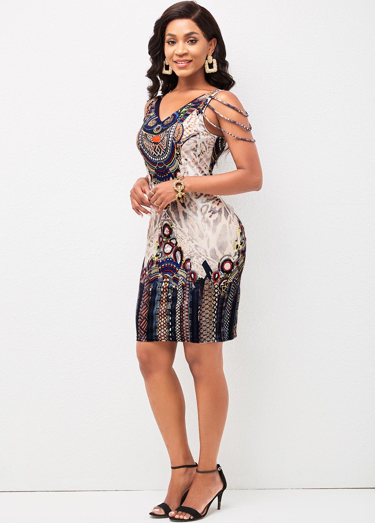 Tribal Print V Neck Bodycon Dress