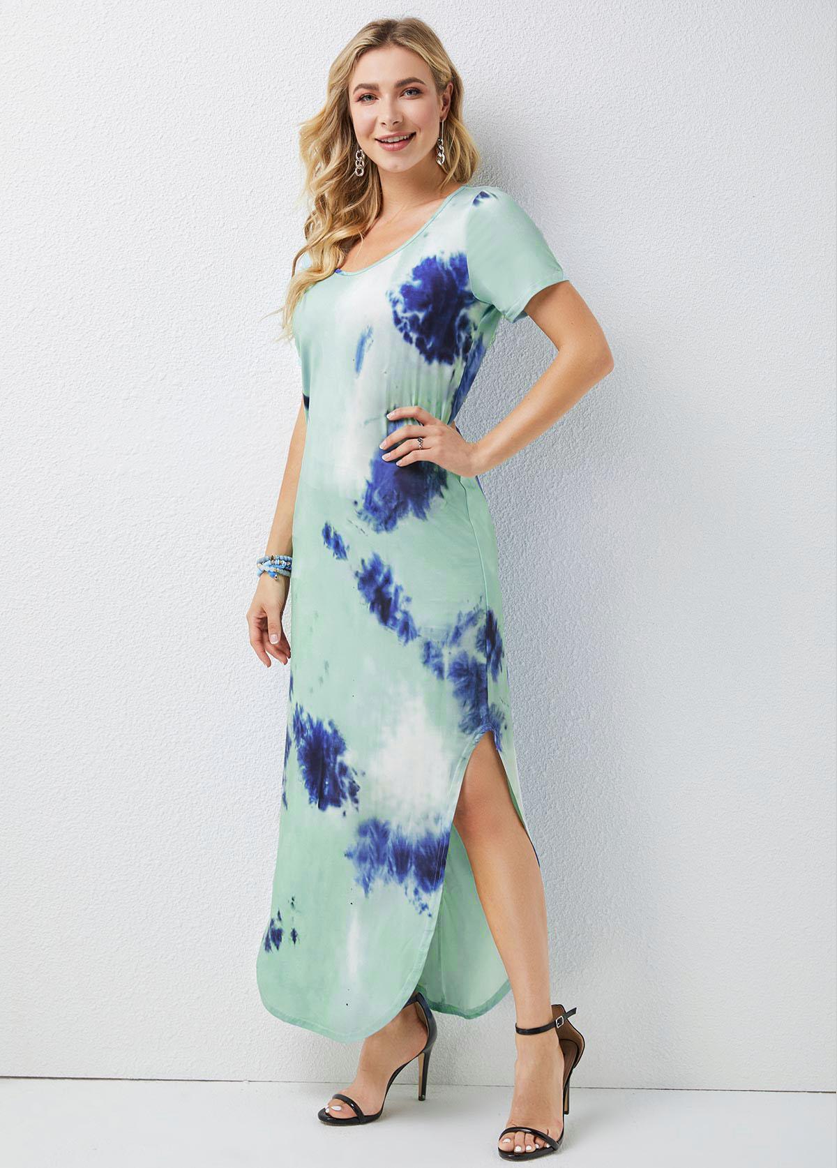 Short Sleeve Tie Dye Print Round Neck Dress