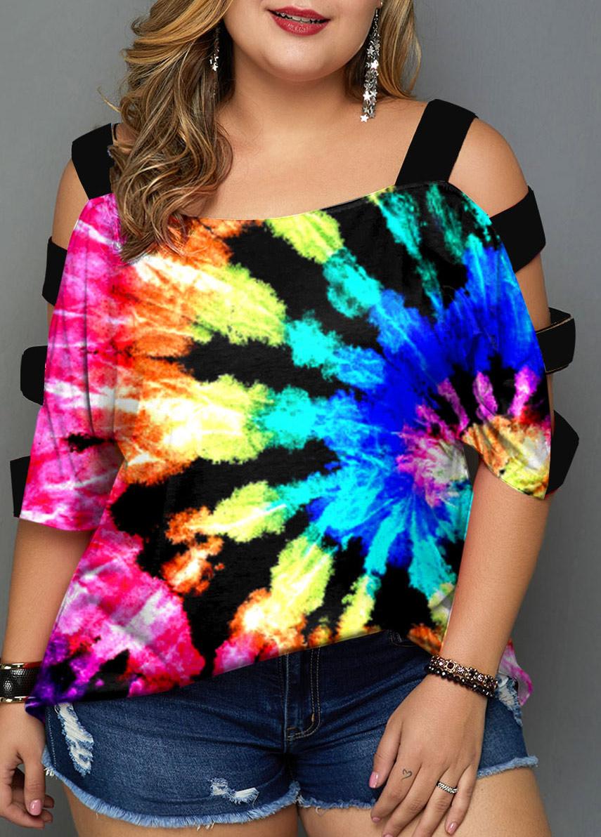 Multicolor Tie Dye Print Plus Size T Shirt