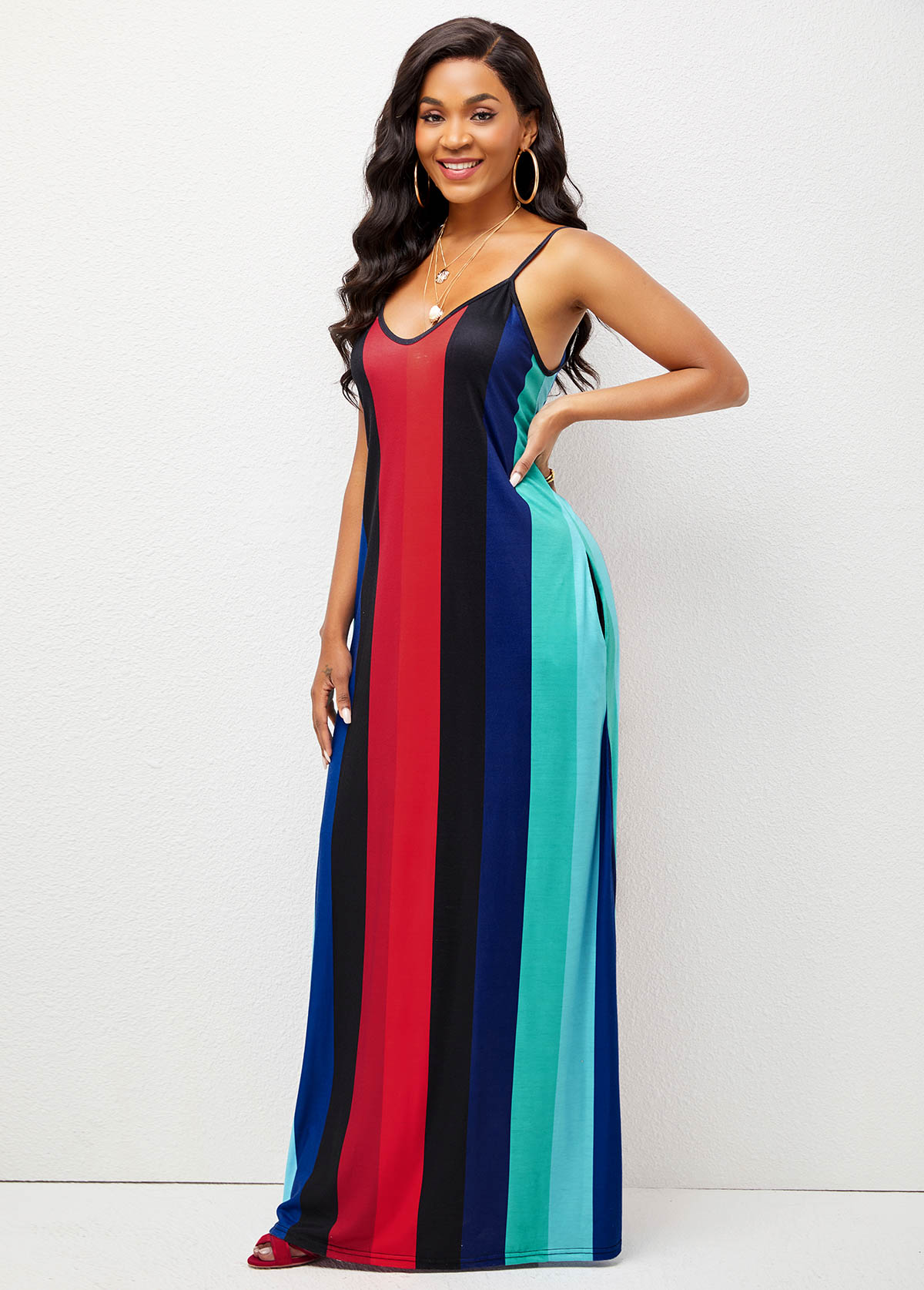 Pocket Spaghetti Strap Striped Maxi Dress