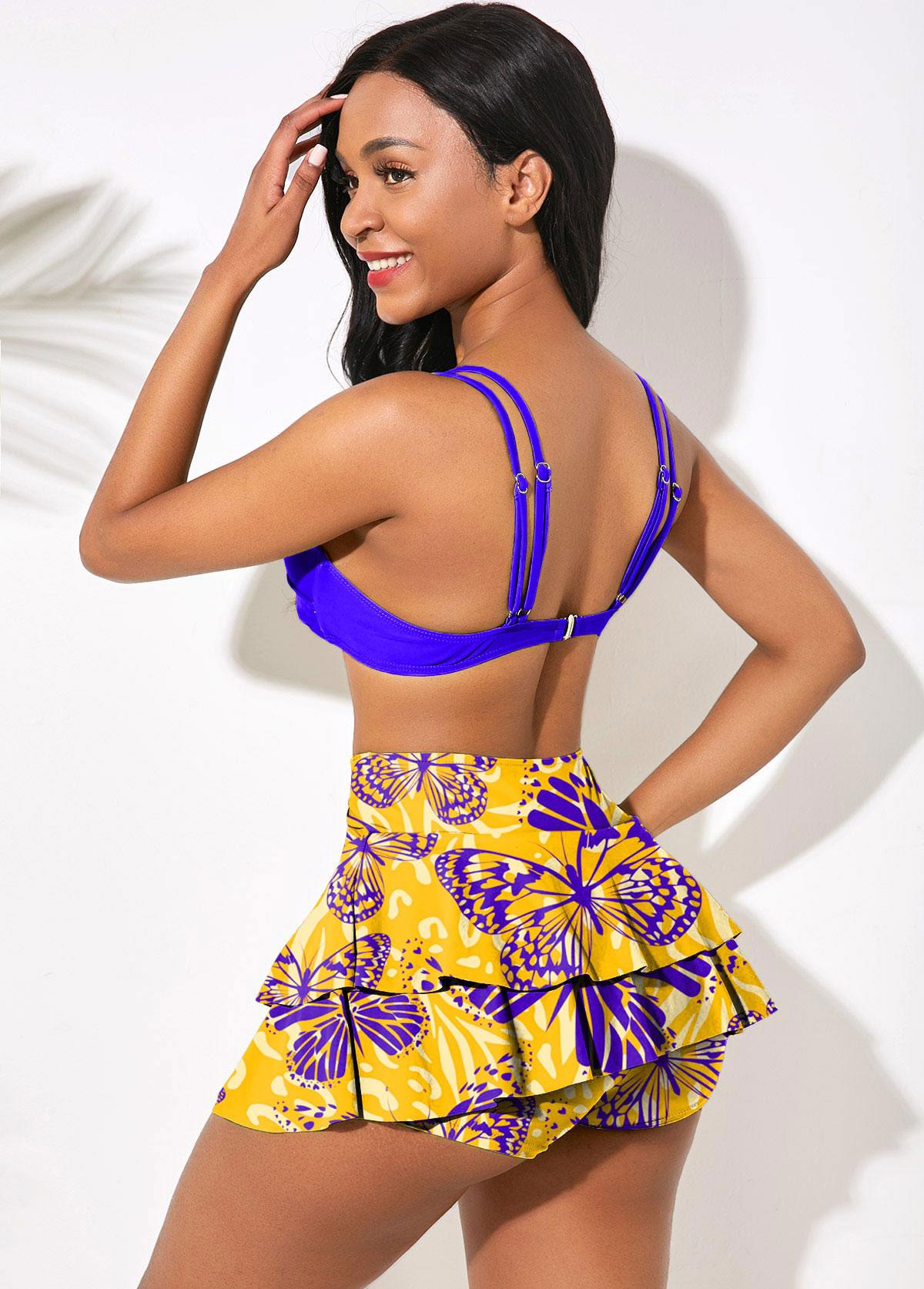 High Waisted Butterfly Print Cross Front Bikini Set