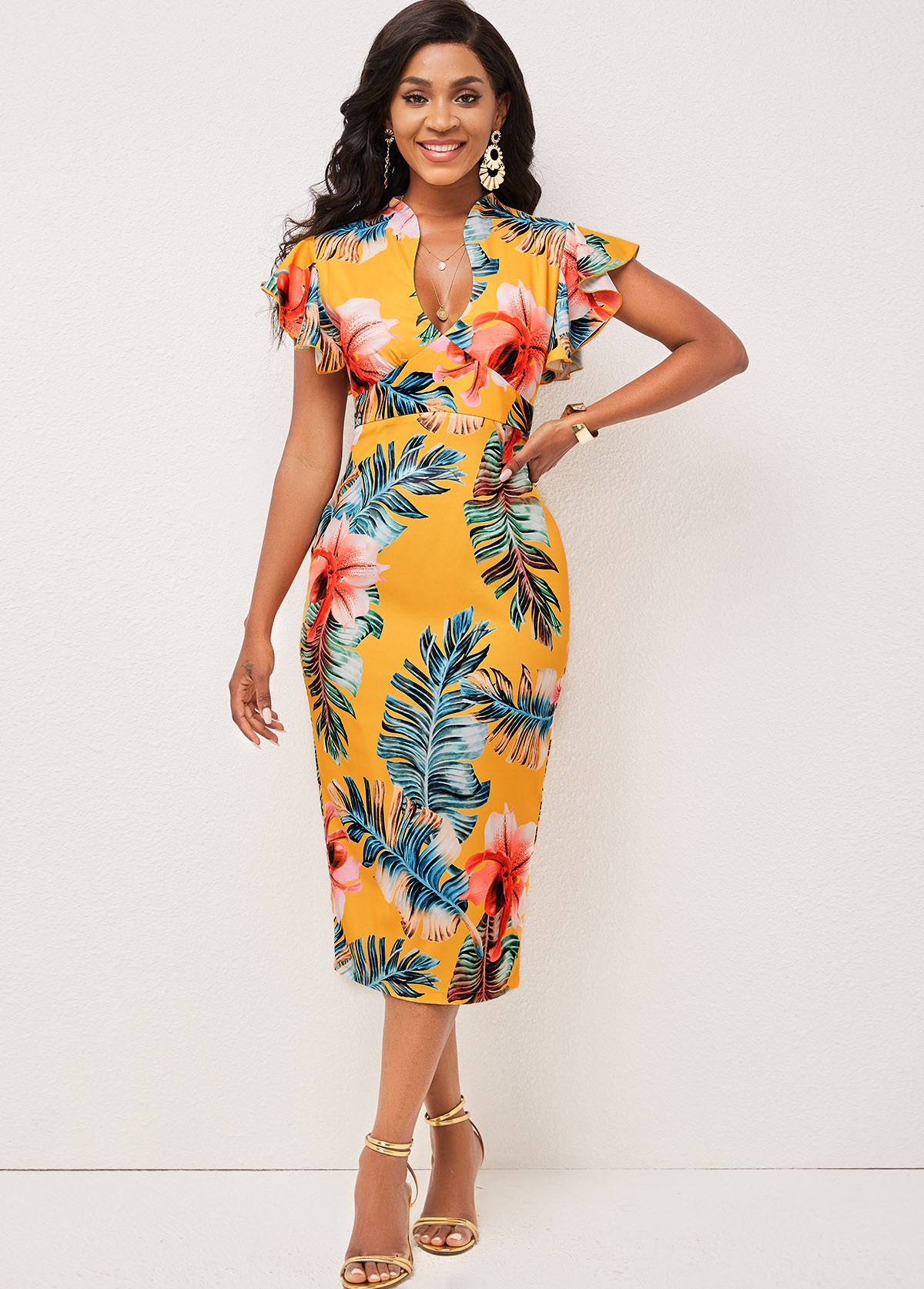 Floral Print Butterfly Sleeve Bodycon Dress