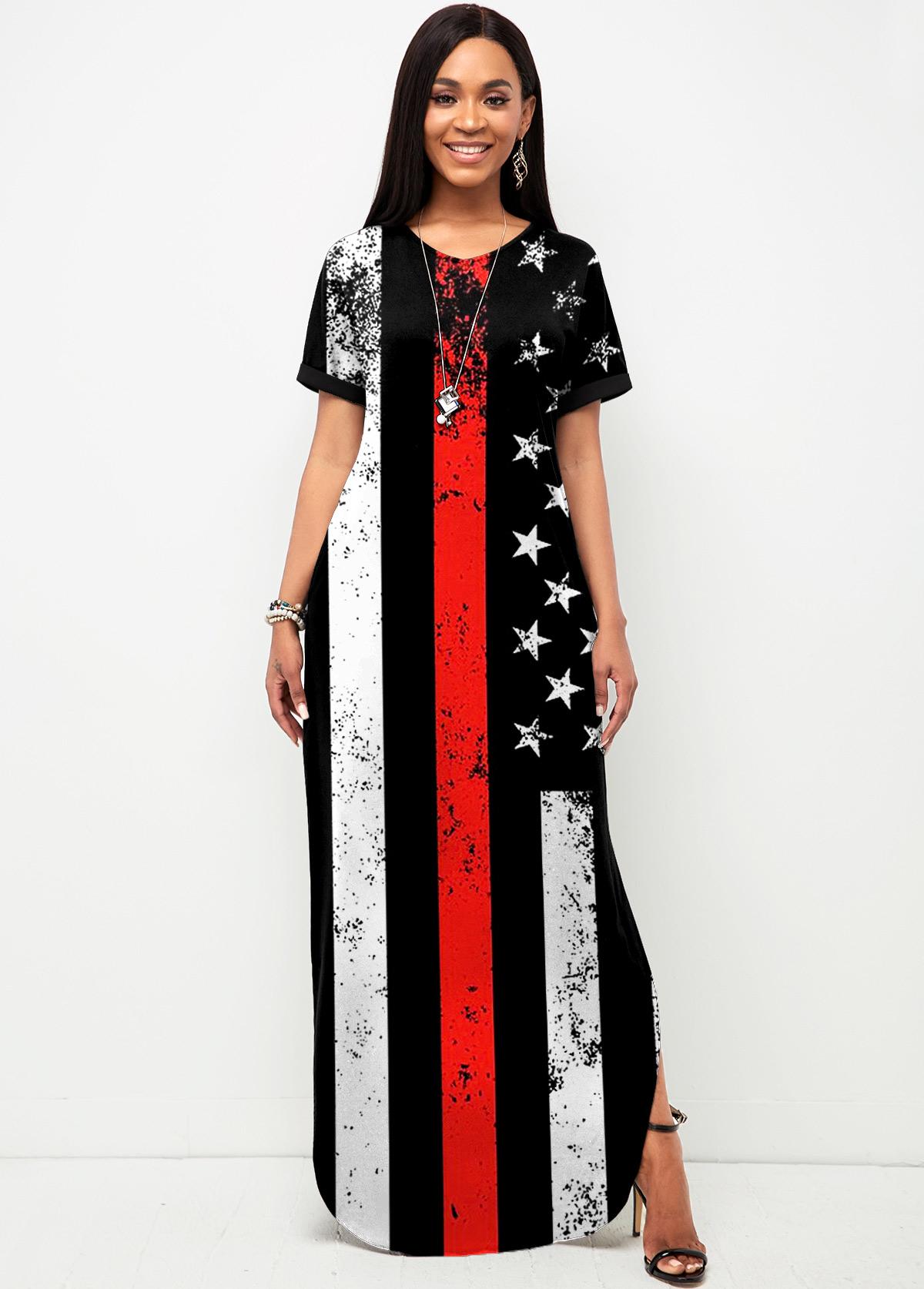 Side Slit American Flag Print Short Sleeve Dress