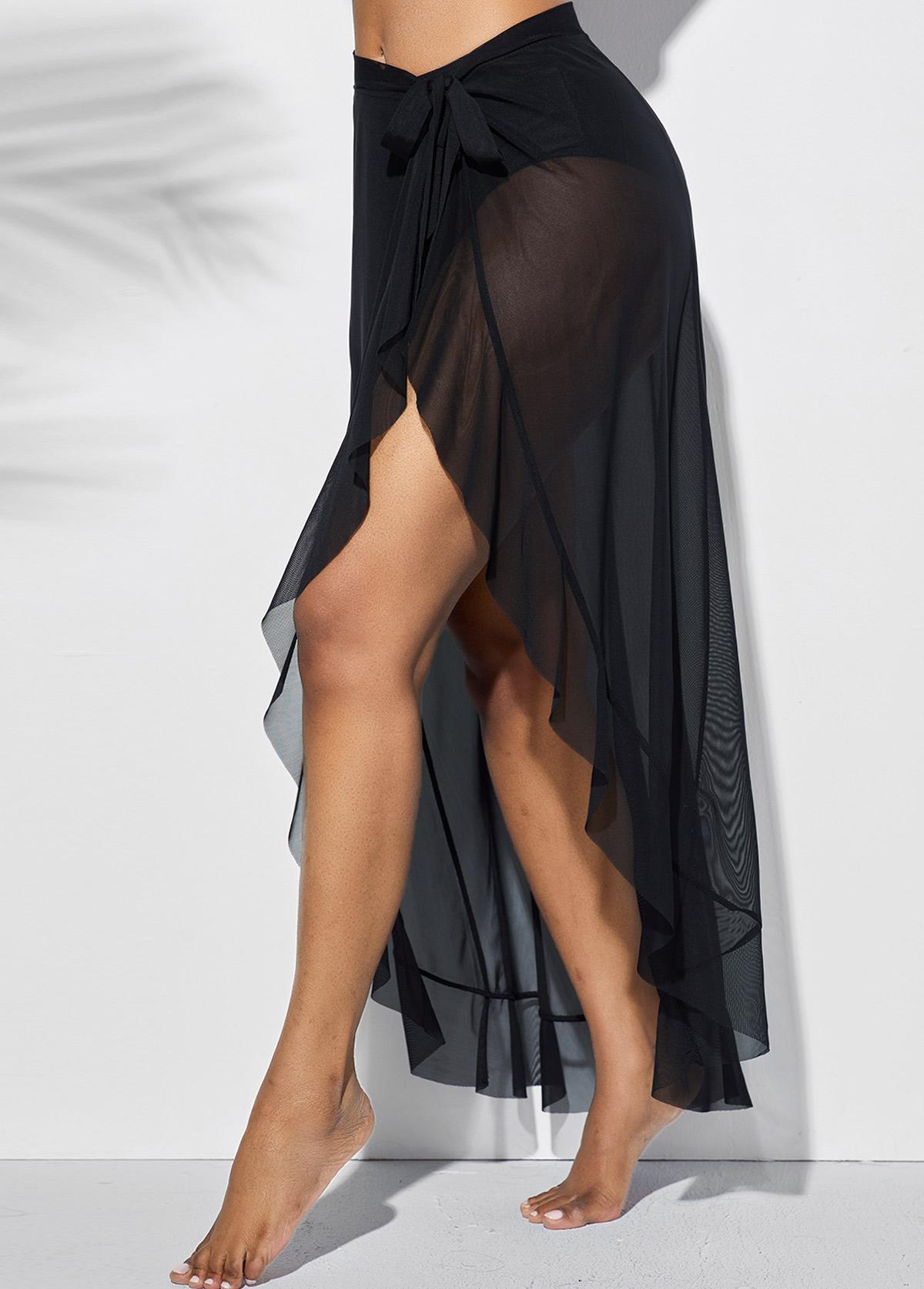 Side Slit Plus Size Asymmetric Hem One Piece Beach Skirt