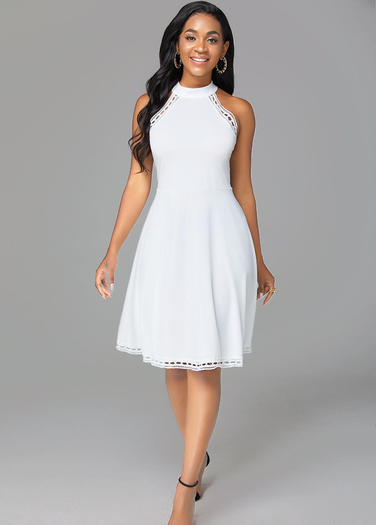 Solid Pierced Mock Neck Sleeveless Dress