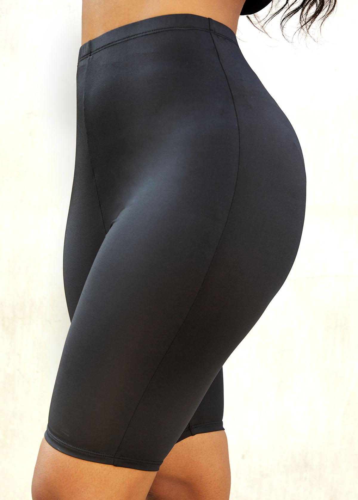 Elastic Detail High Waistt Solid Skinny Legging