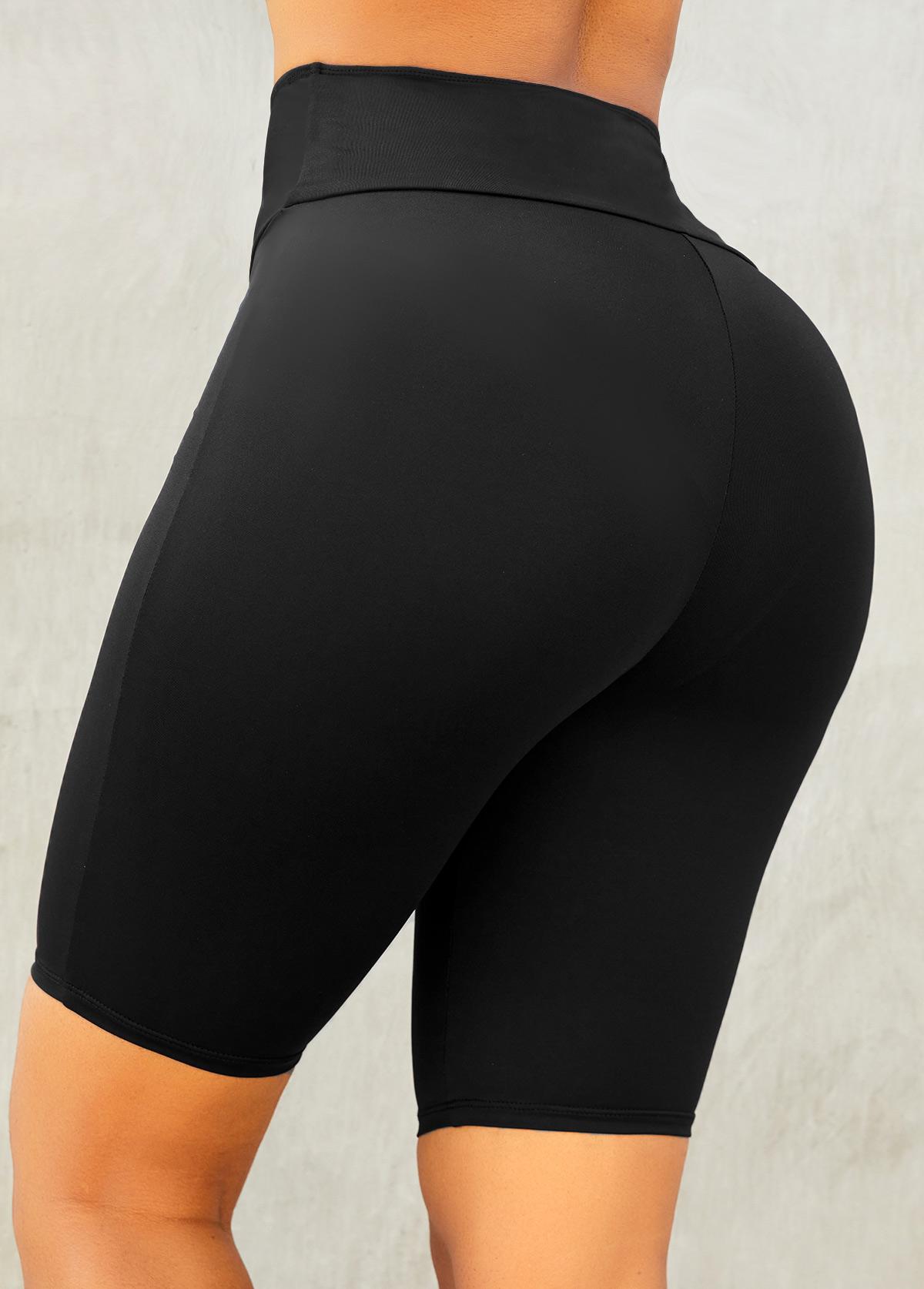 Elastic Detail High Waisted Black Skinny Legging