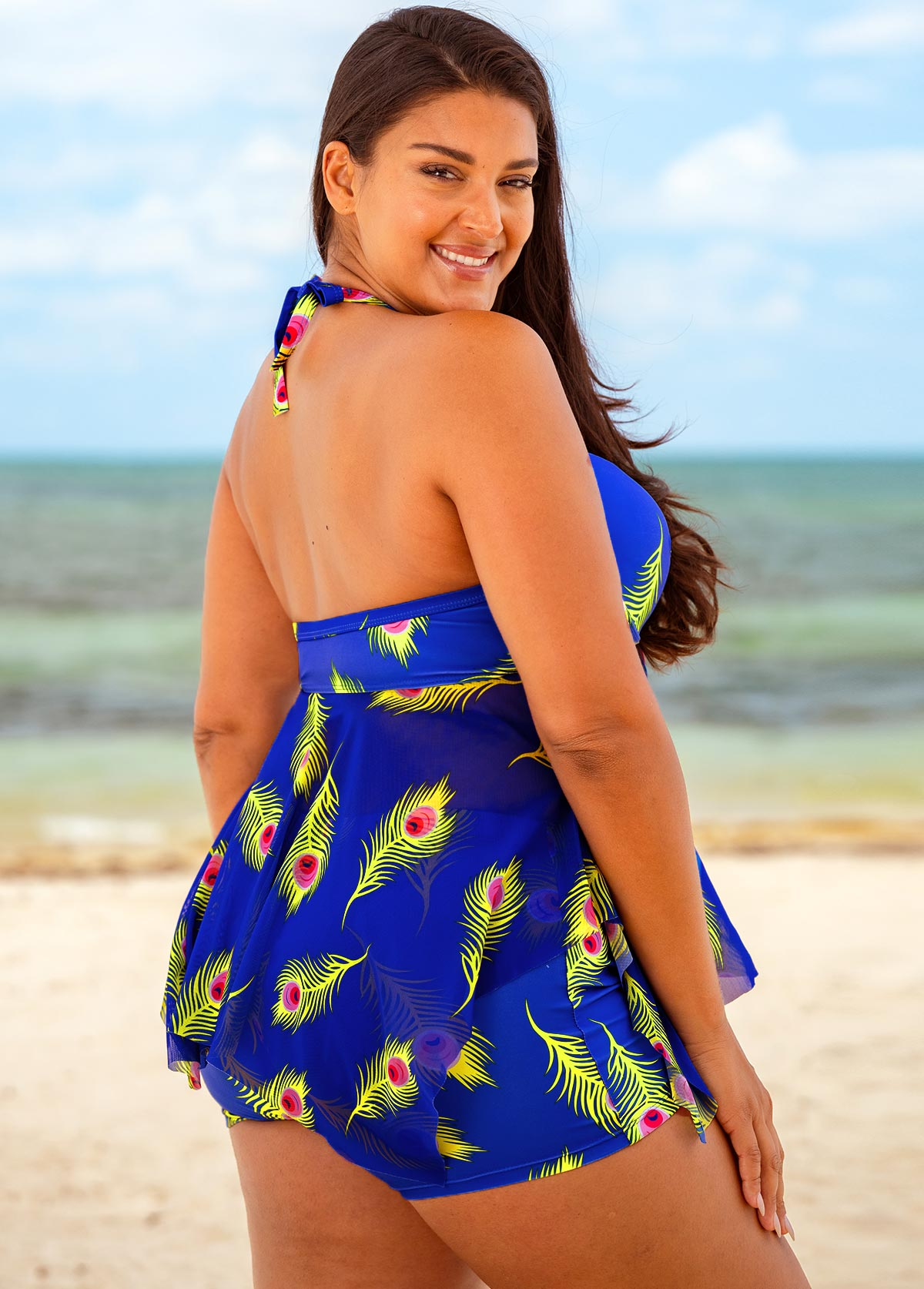 Halter Feathers Print Plus Size Swimdress and Shorts