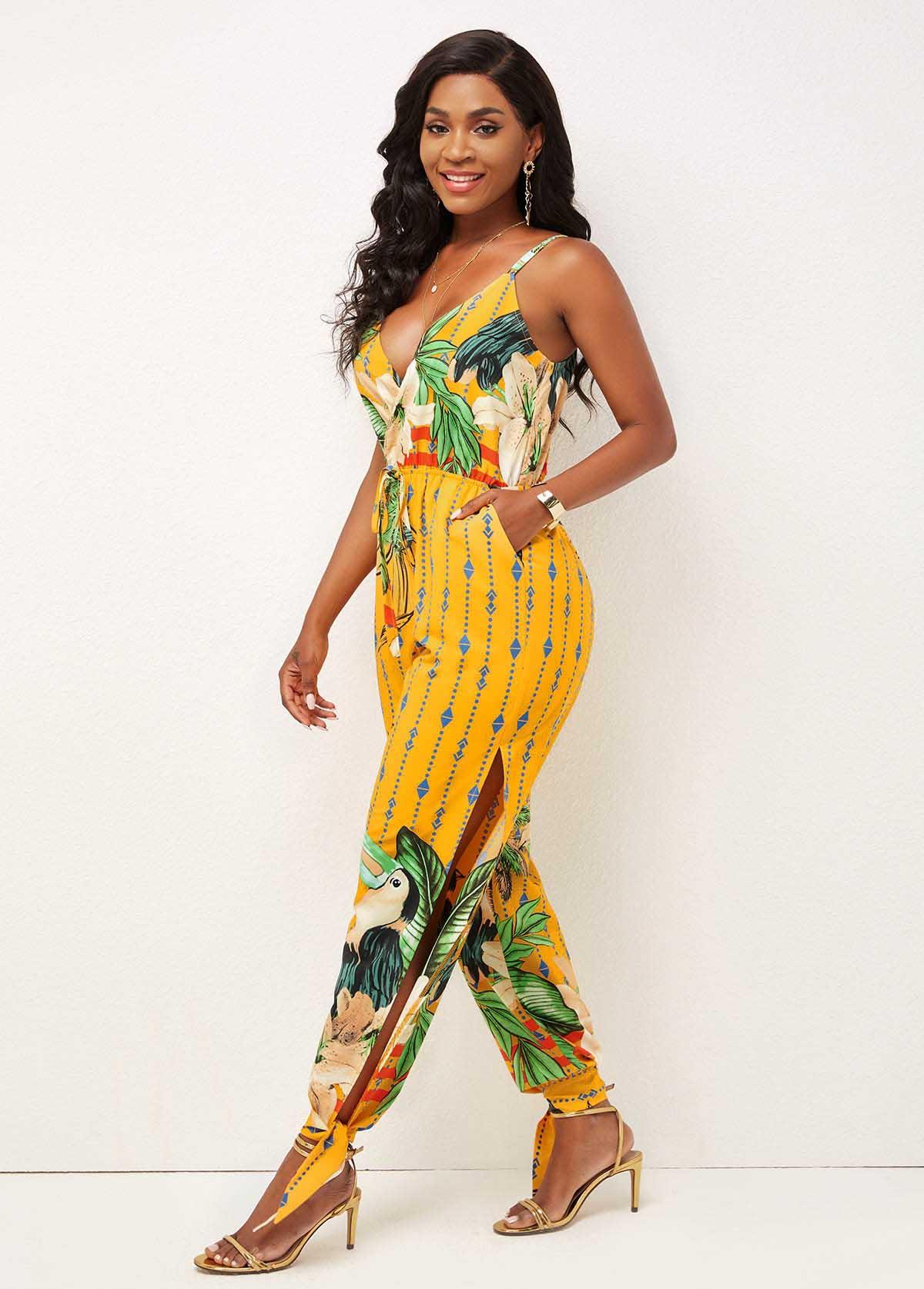 Floral Print Spaghetti Strap Pocket Detail Jumpsuit