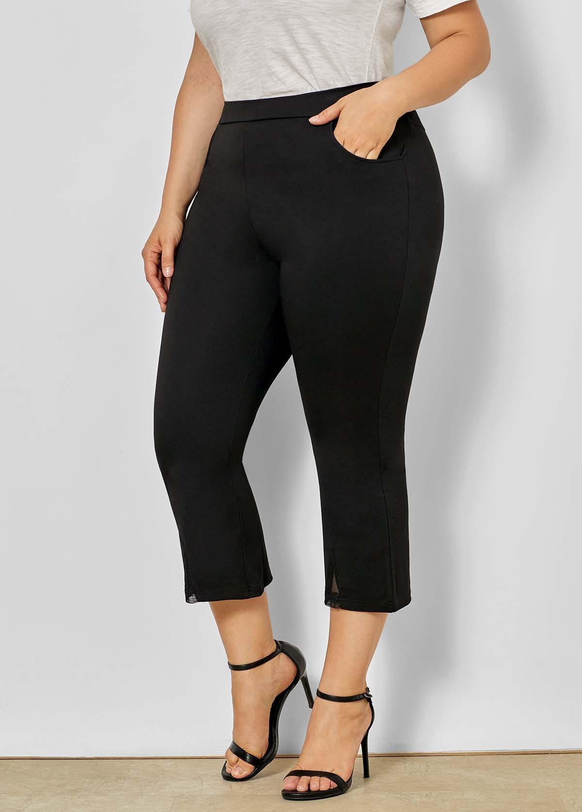 Mesh Stitching Plus Size Mid Waist Pants