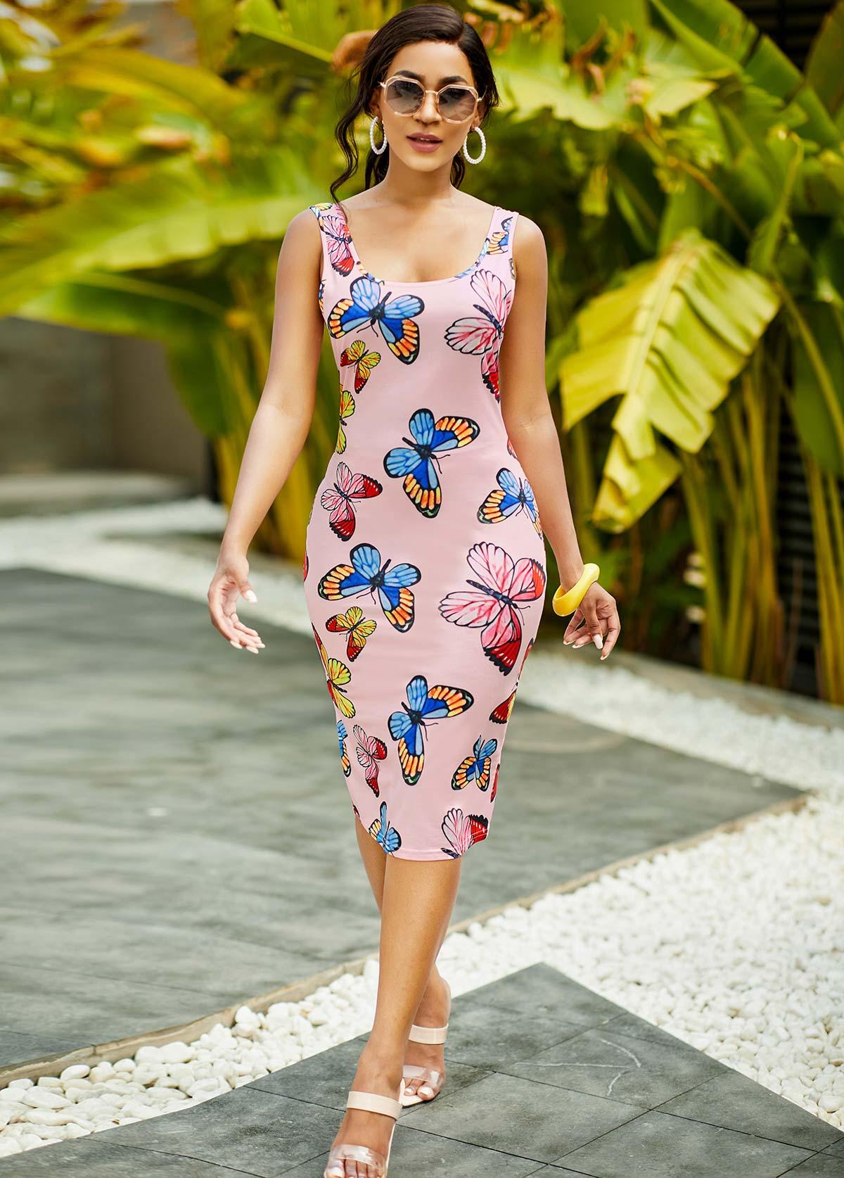 Butterfly Print Wide Strap Bodycon Dress