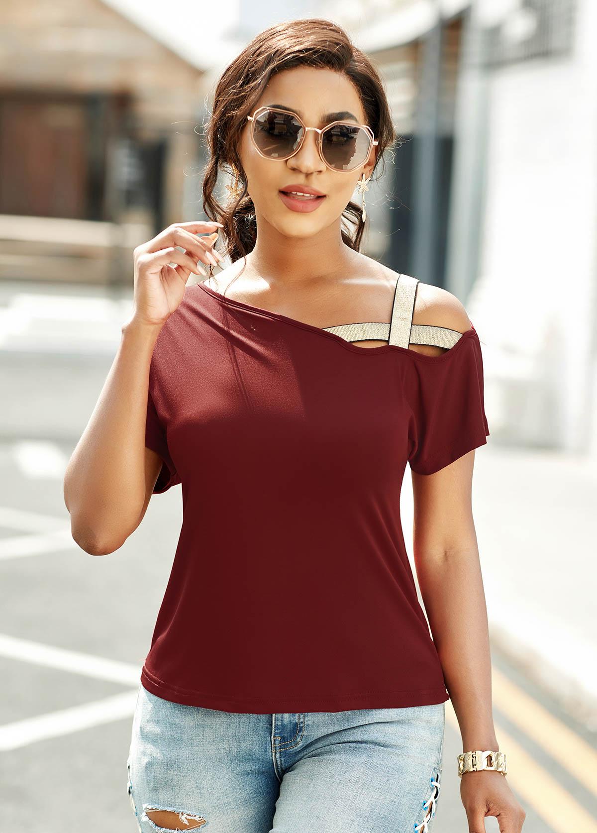 Cross Strap Asymmetric Neck Short Sleeve T Shirt