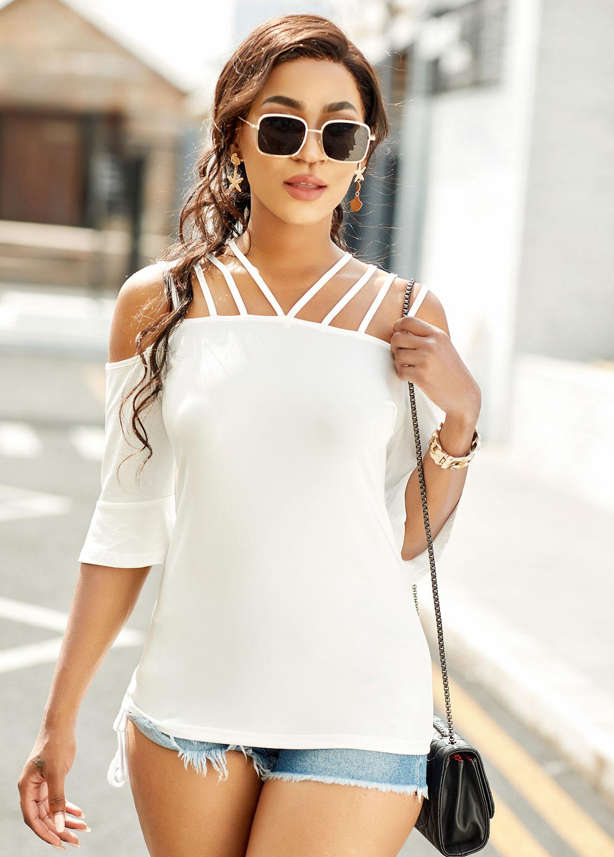 Cold Shoulder Flare Sleeve Solid T Shirt
