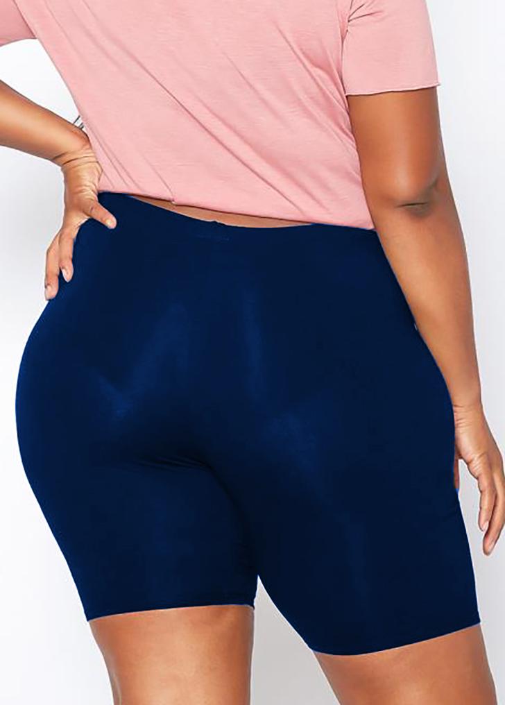 High Waist Plus Size Skinny Solid Swim Shorts