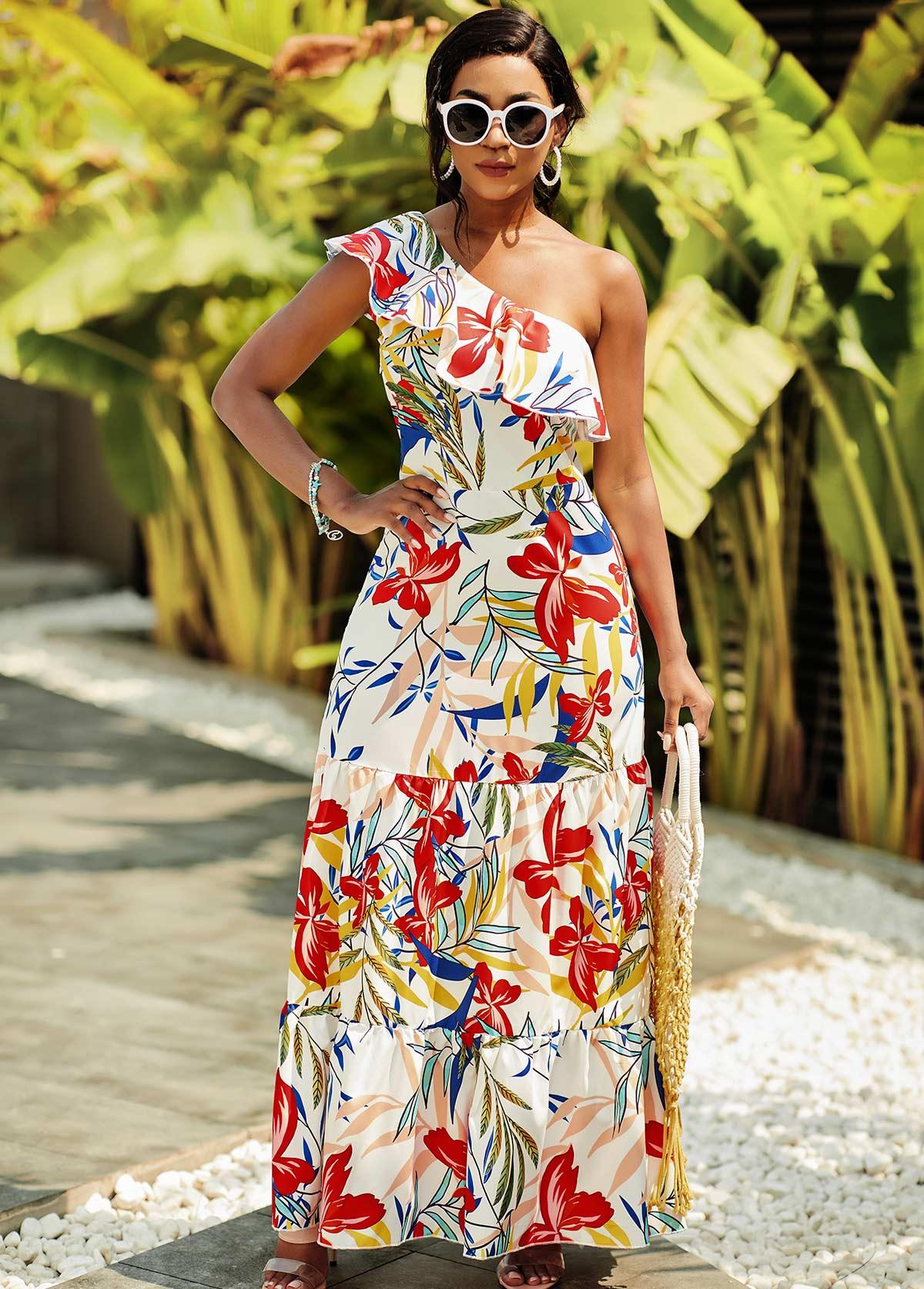 Floral Print One Shoulder Flounce Dress