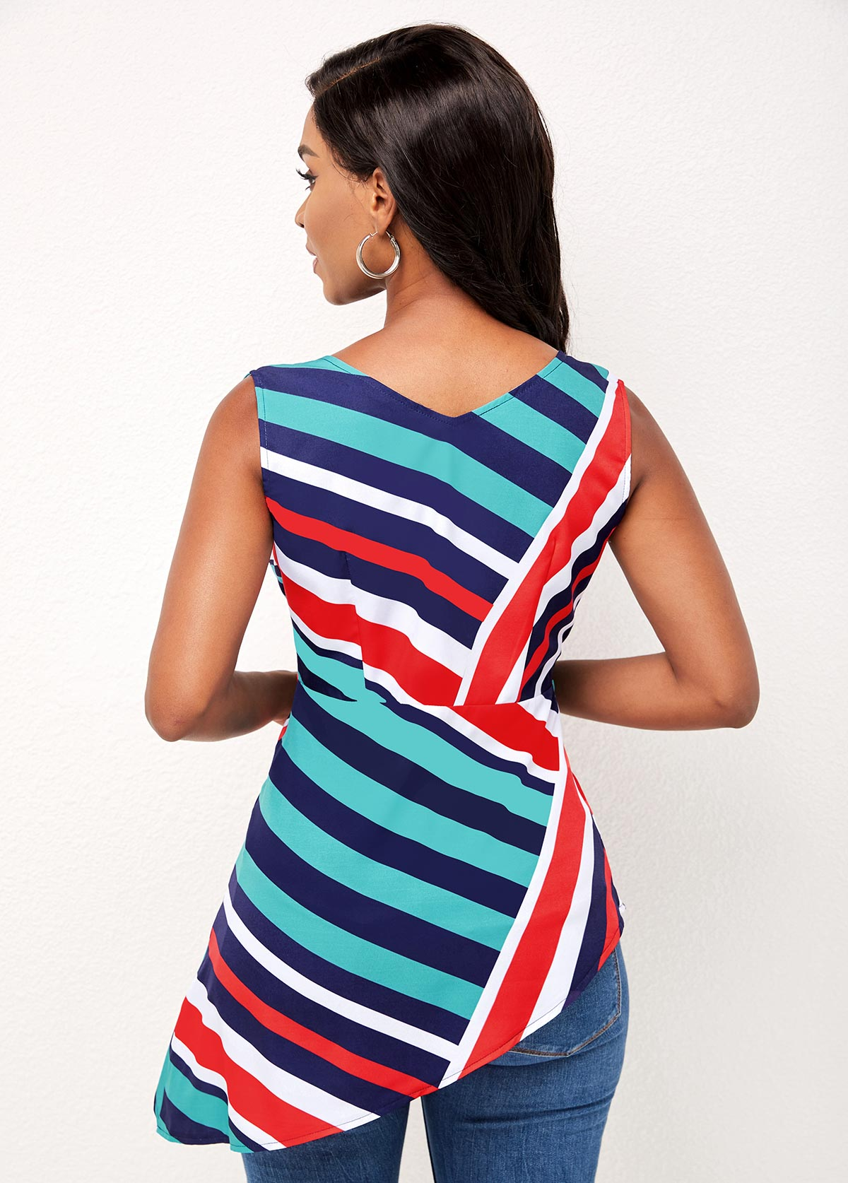 V Neck Asymmetric Hem Striped Sleeveless Blouse