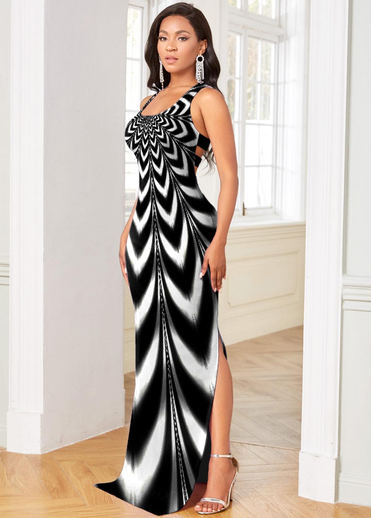 Sleeveless Ombre Side Slit Maxi Dress