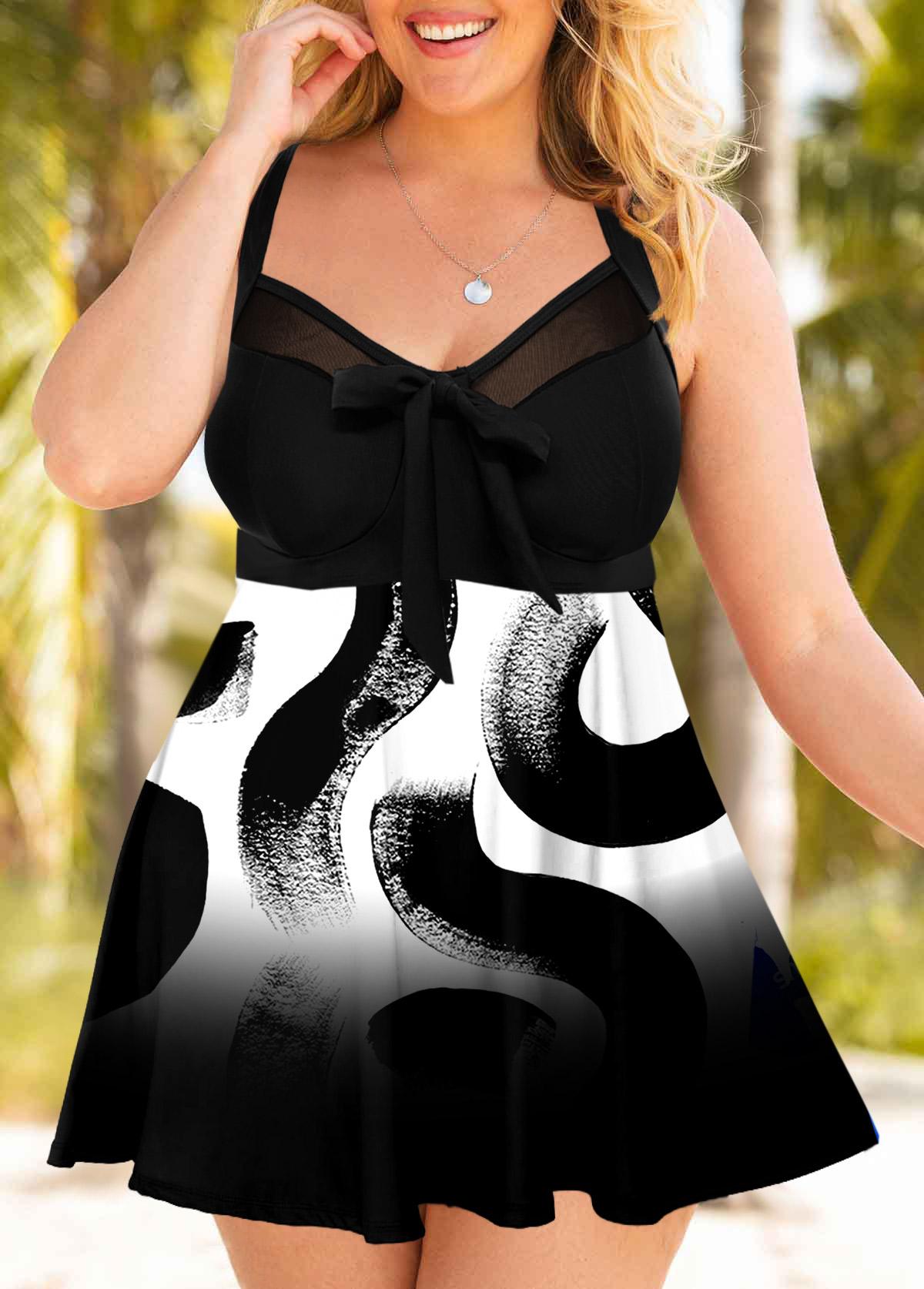 Printed Mesh Stitching Plus Size Swimdress and Panty