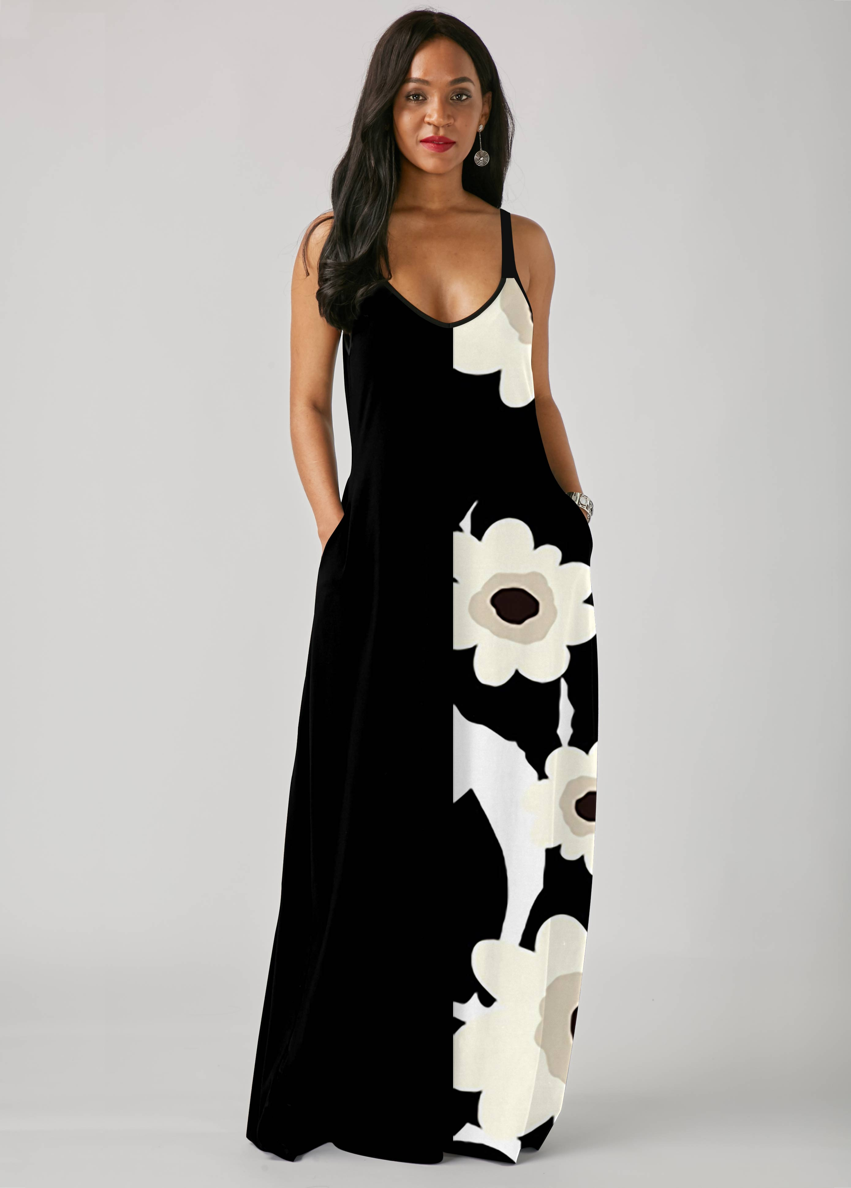 Pocket Floral Print Spaghetti Strap Dress