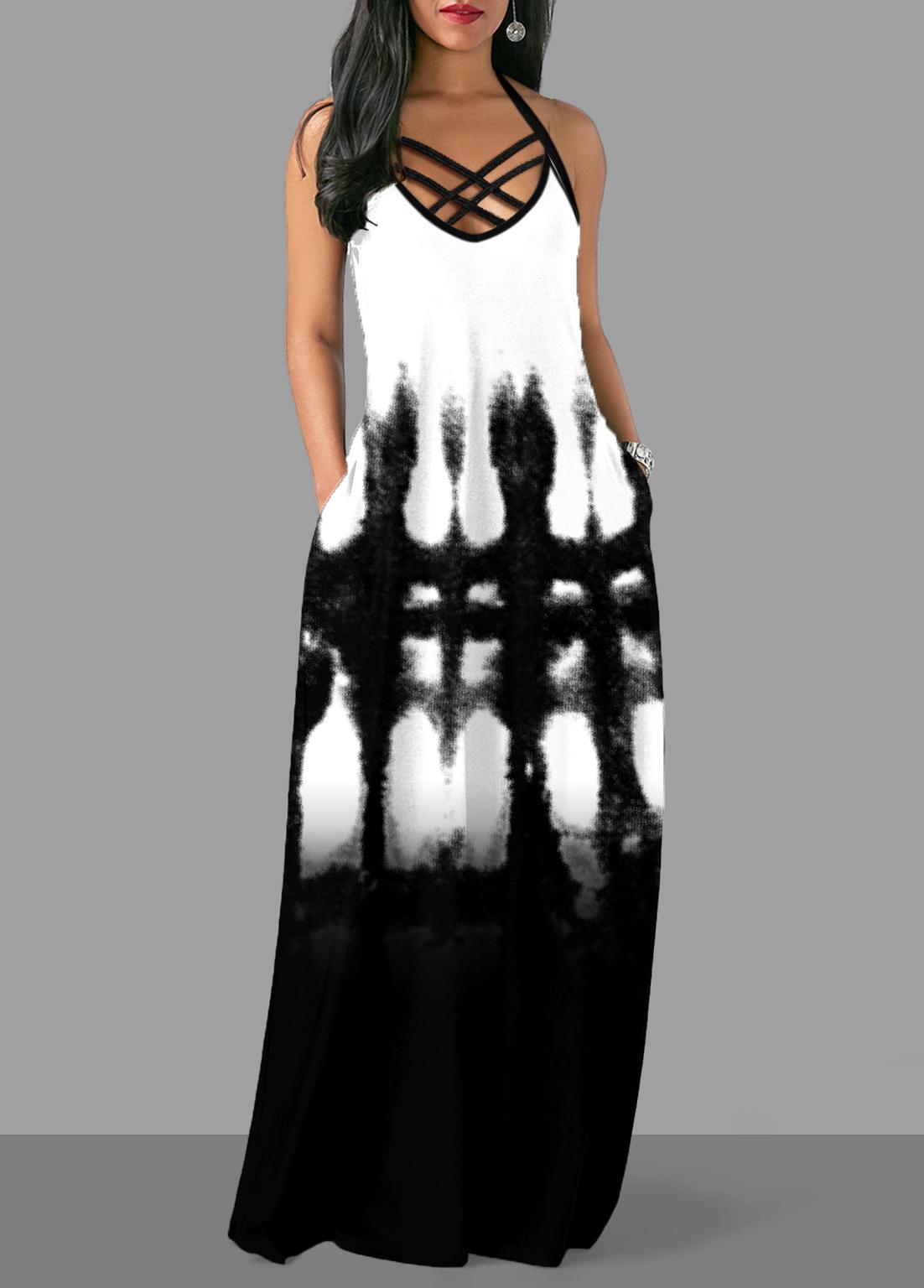 Pocket Tie Dye Print Cross Strap Dress
