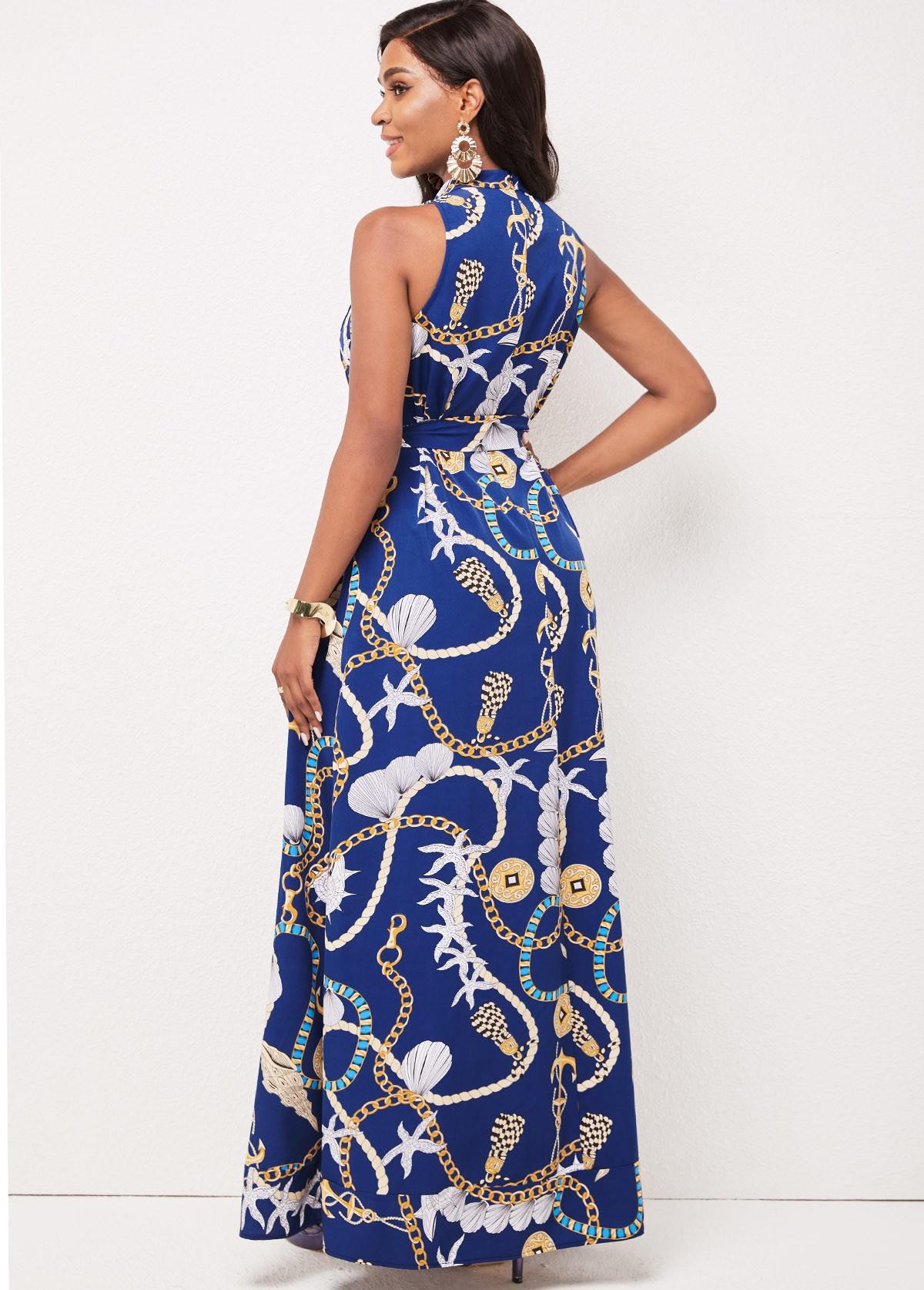 Sleeveless Gold Chain Print Pocket Swing Dress