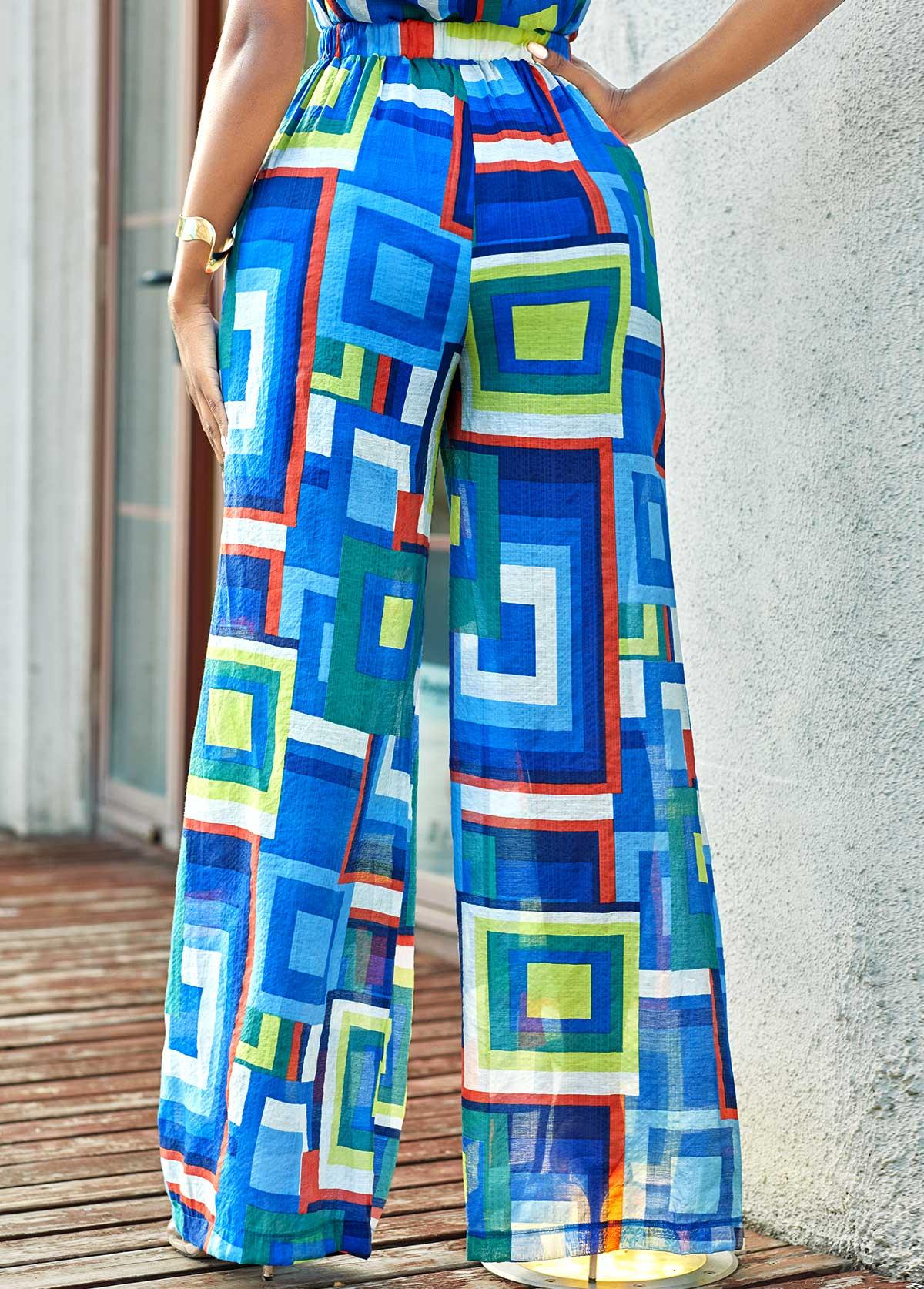 Loose Geometric Print High Waisted Pants