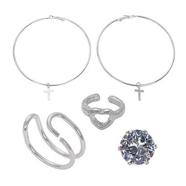 Rhinestone Detail Cross Design Earring Set