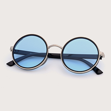 1 Pair TR and Metal Blue Round Frame Sunglasses