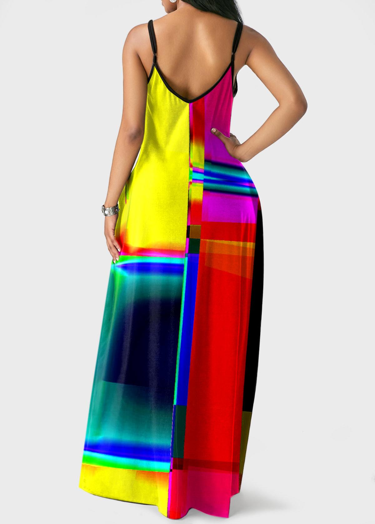 Colorful Geometric Print Spaghetti Strap Dress