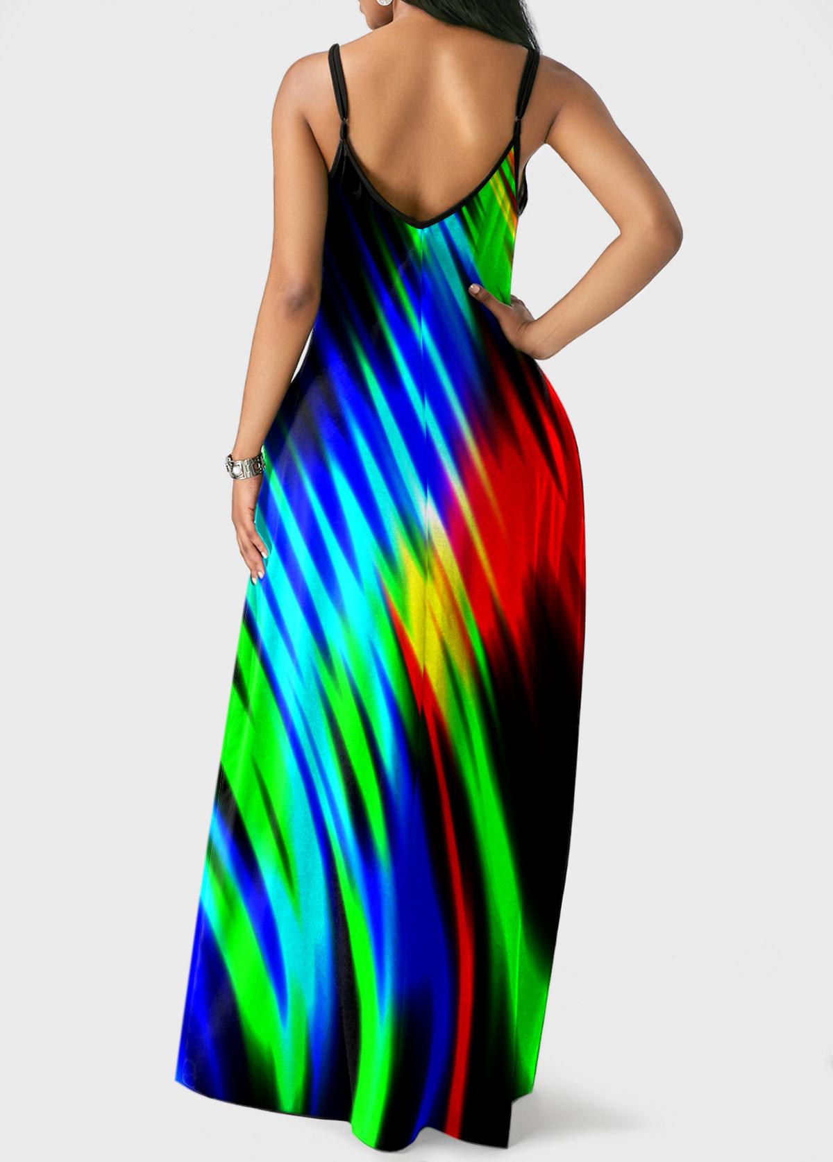 Pocket Colorful Printed Spaghetti Strap Dress