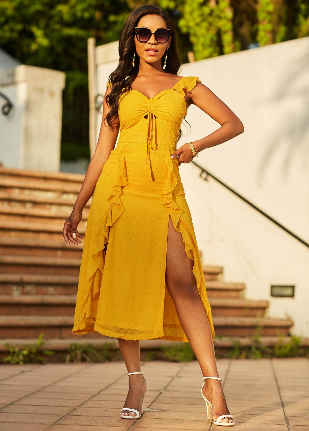 Double Slit Tie Front Flounce Dress