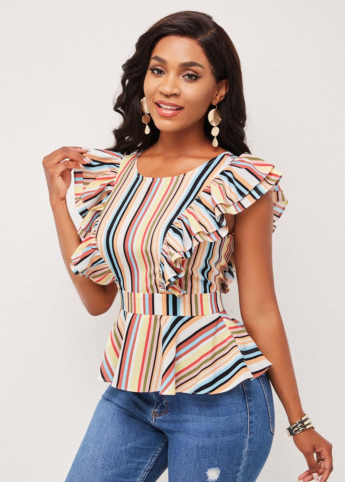 Tie Back Flounce Multi Stripe Blouse