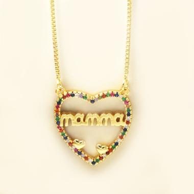 Rhinestone Design Heart Letter Detail Necklace