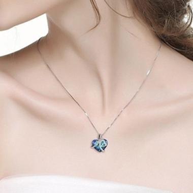 Letter Detail Heart Rhinestone Design Necklace