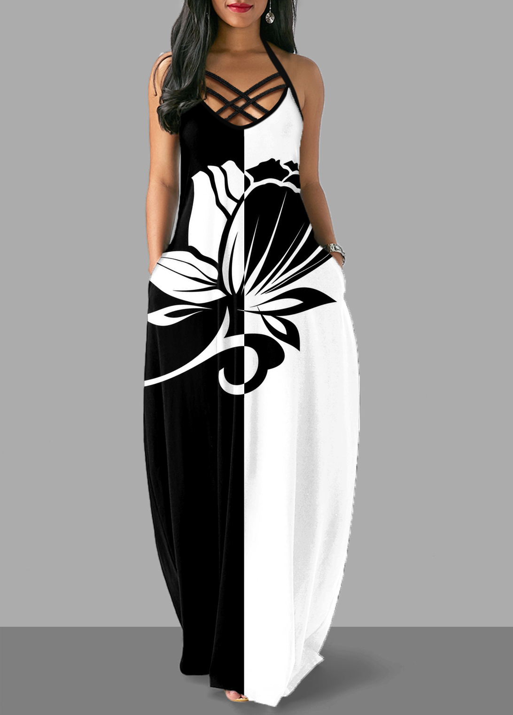Halter Floral Print Criss Cross Back Dress