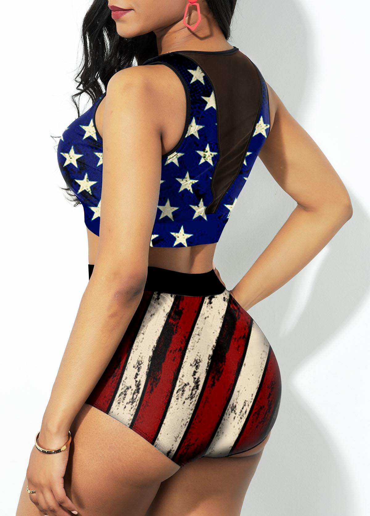 High Waist American Flag Print Mesh Stitching Bikini Set